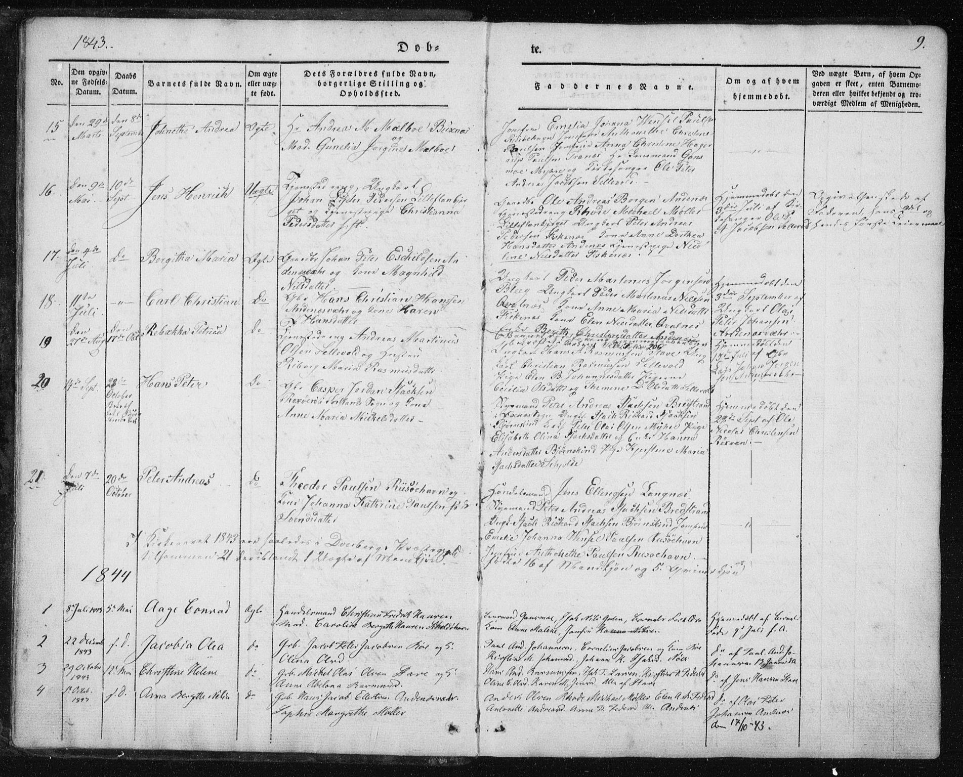 SAT, Ministerialprotokoller, klokkerbøker og fødselsregistre - Nordland, 897/L1396: Ministerialbok nr. 897A04, 1842-1866, s. 9