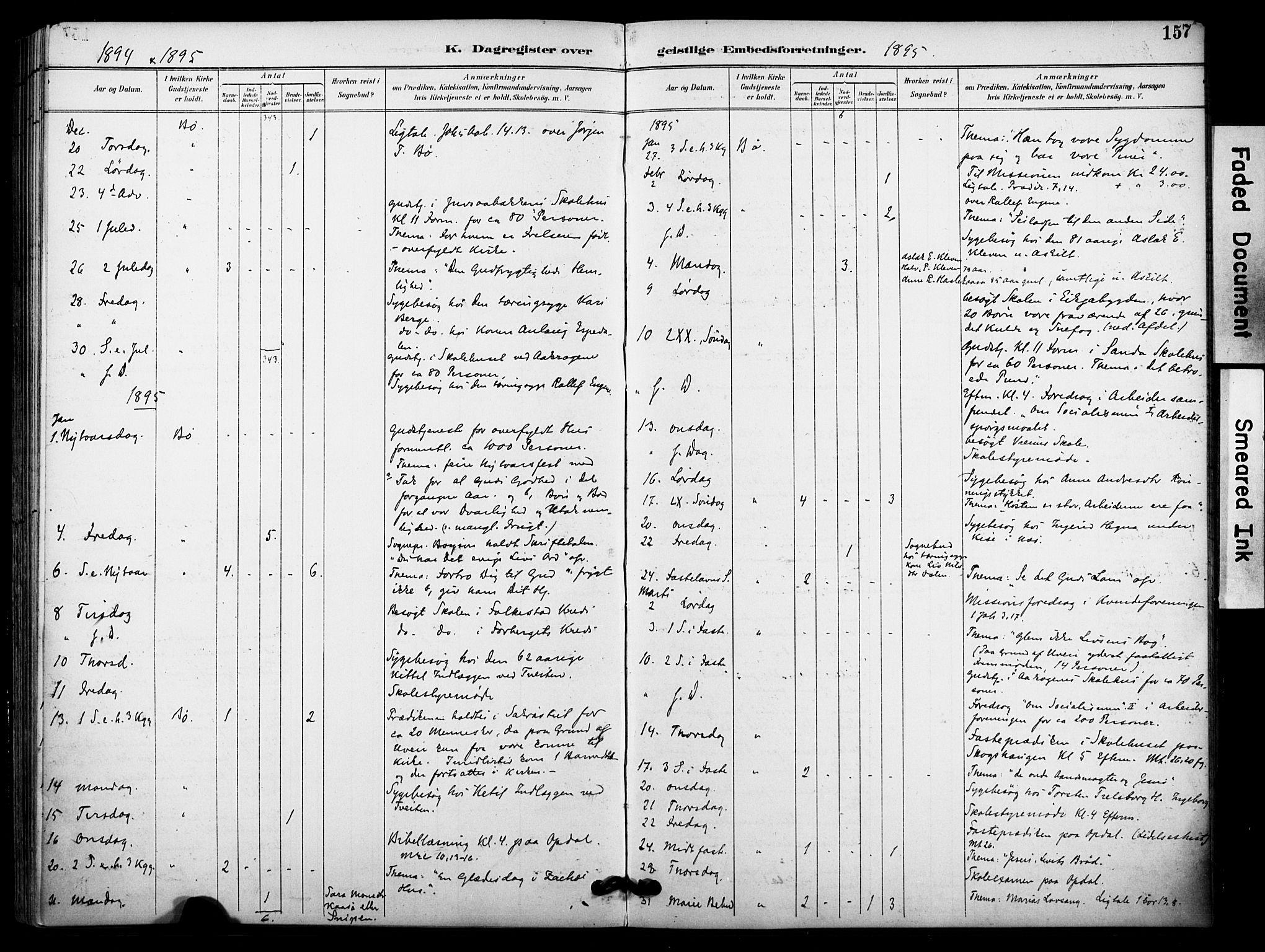SAKO, Bø kirkebøker, F/Fa/L0011: Ministerialbok nr. 11, 1892-1900, s. 157