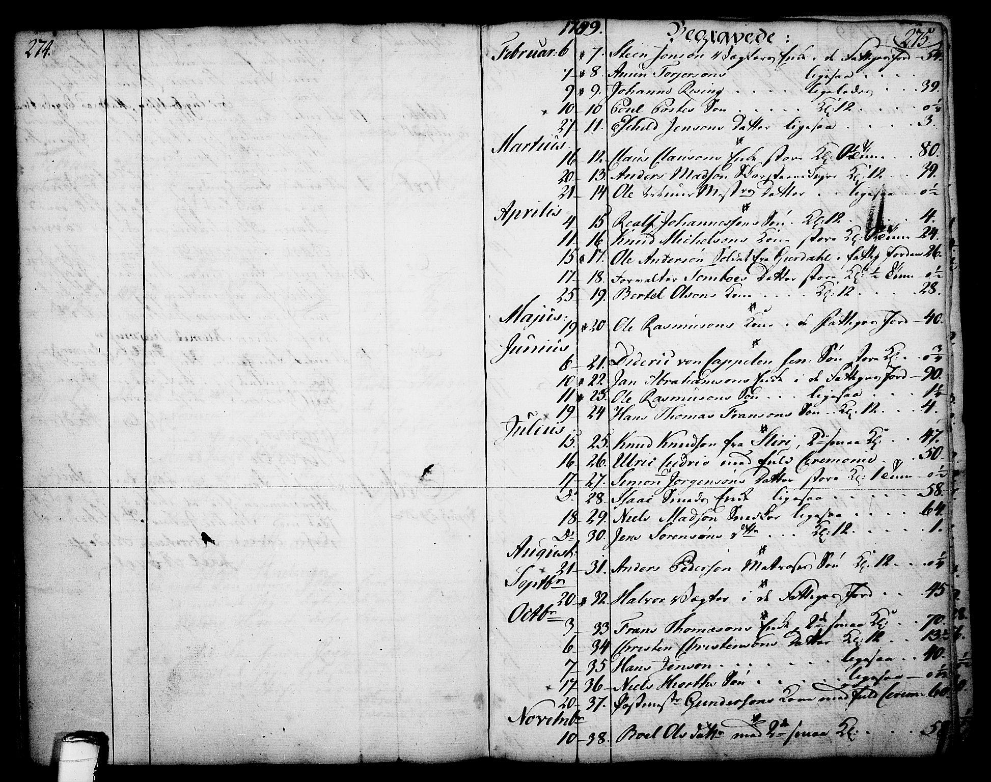 SAKO, Skien kirkebøker, F/Fa/L0003: Ministerialbok nr. 3, 1755-1791, s. 274-275