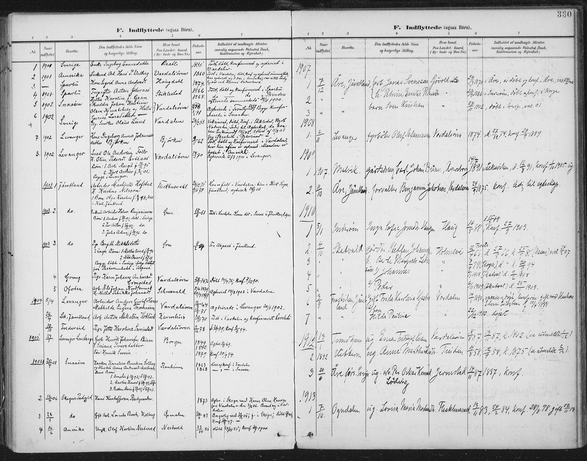SAT, Ministerialprotokoller, klokkerbøker og fødselsregistre - Nord-Trøndelag, 723/L0246: Ministerialbok nr. 723A15, 1900-1917, s. 330