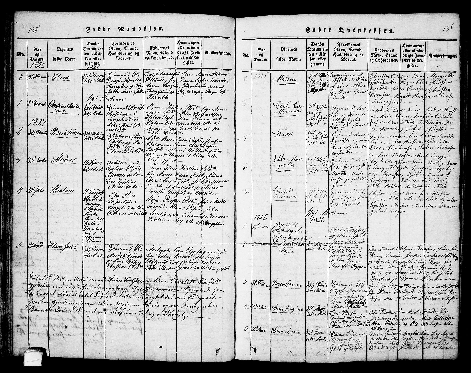 SAKO, Bamble kirkebøker, F/Fa/L0003: Ministerialbok nr. I 3 /2, 1815-1834, s. 195-196