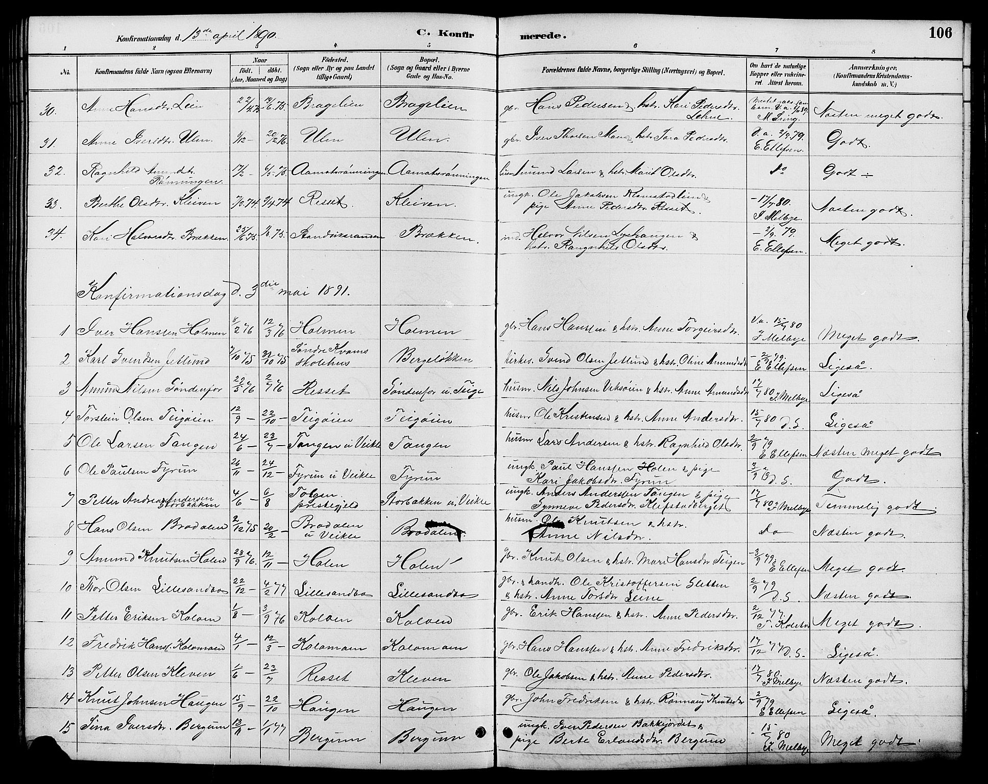 SAH, Nord-Fron prestekontor, Klokkerbok nr. 6, 1887-1914, s. 106