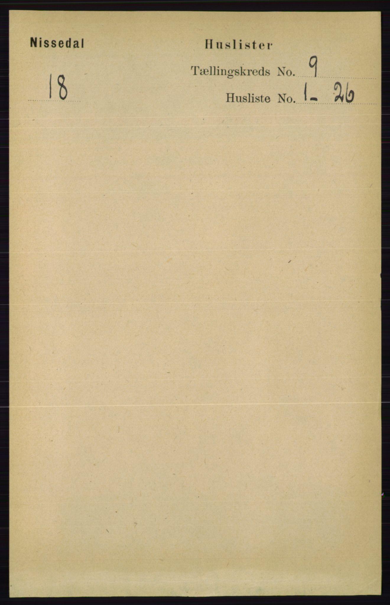 RA, Folketelling 1891 for 0830 Nissedal herred, 1891, s. 1811