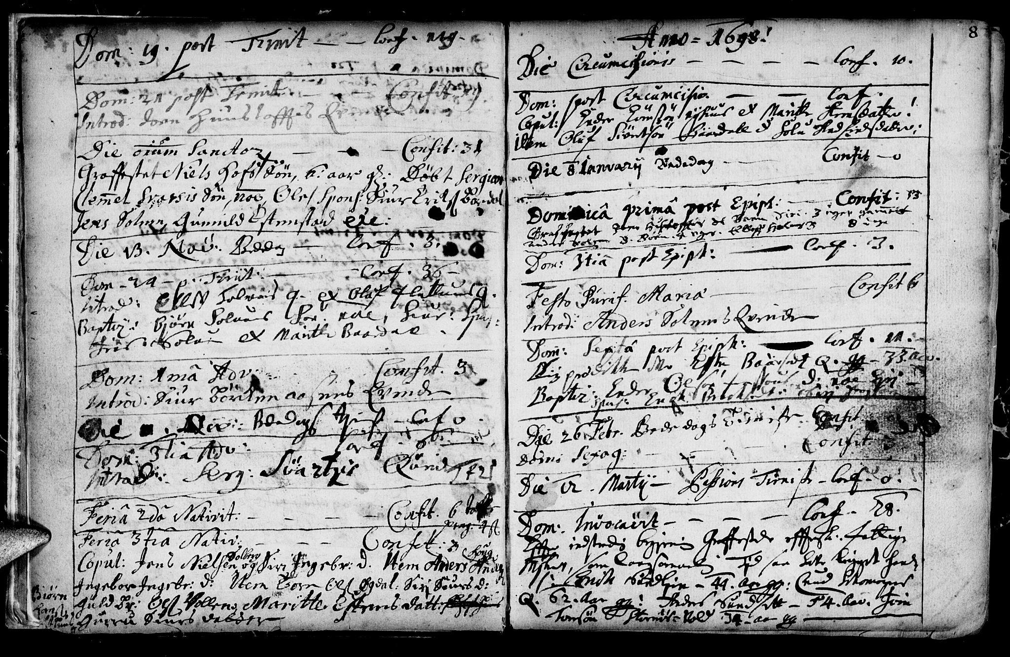 SAT, Ministerialprotokoller, klokkerbøker og fødselsregistre - Sør-Trøndelag, 689/L1036: Ministerialbok nr. 689A01, 1696-1746, s. 8