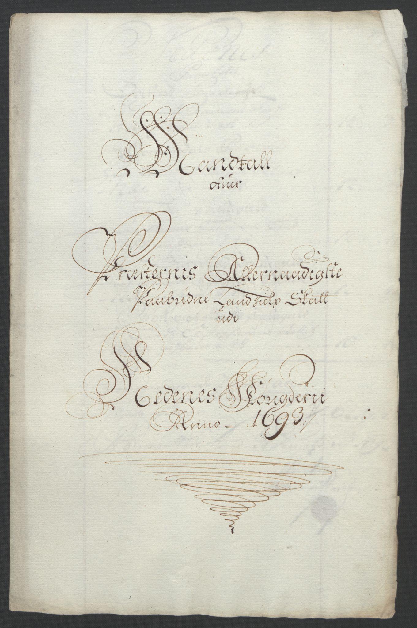 RA, Rentekammeret inntil 1814, Reviderte regnskaper, Fogderegnskap, R39/L2312: Fogderegnskap Nedenes, 1693-1695, s. 63