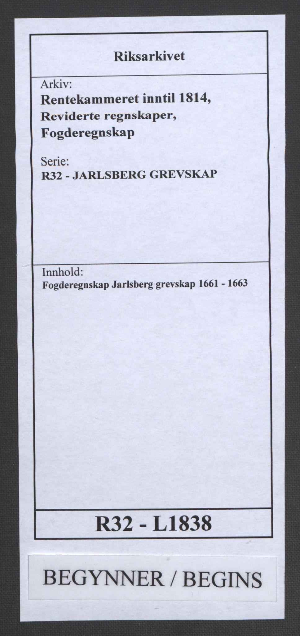 RA, Rentekammeret inntil 1814, Reviderte regnskaper, Fogderegnskap, R32/L1838: Fogderegnskap Jarlsberg grevskap, 1661-1663, s. 1