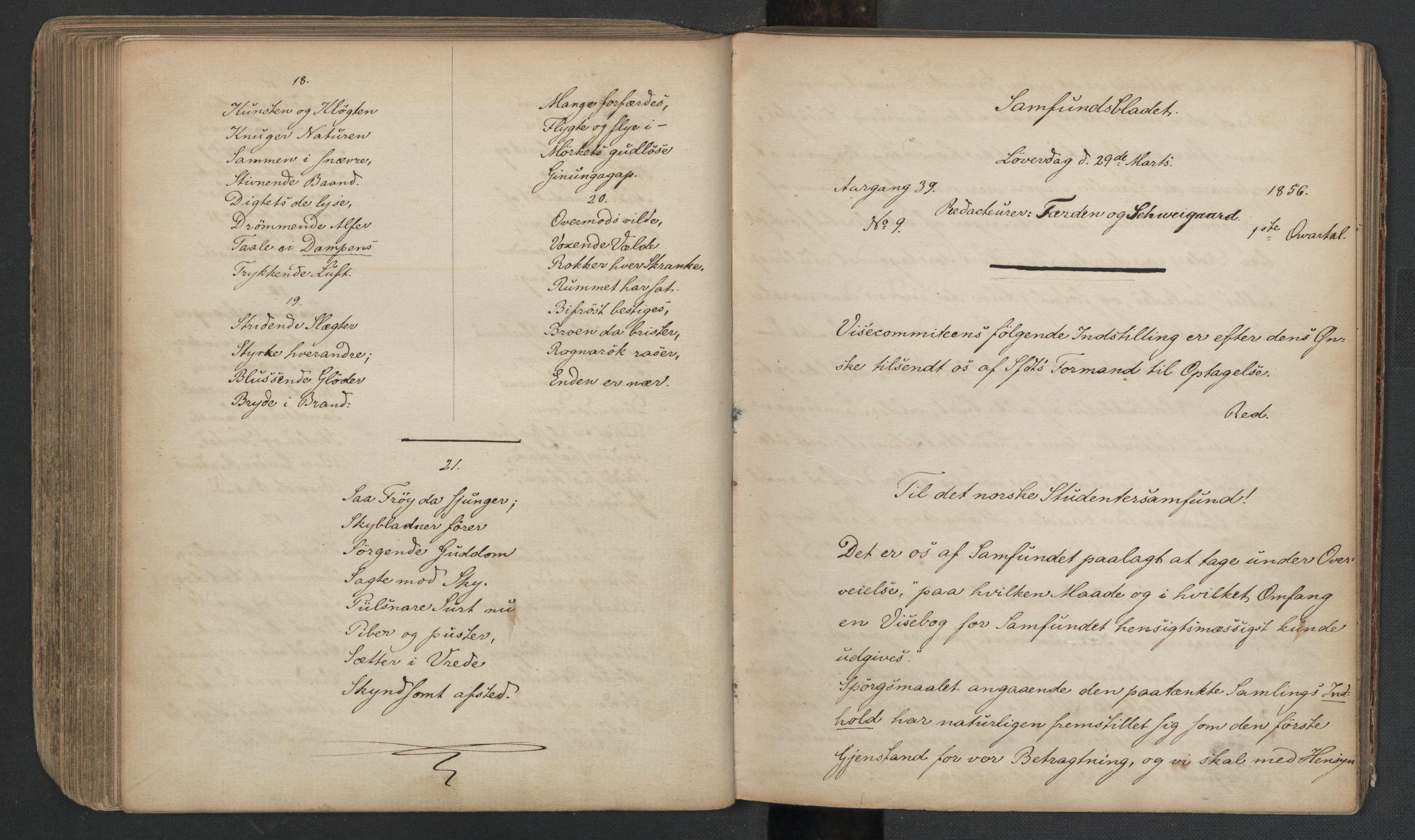 RA, Det Norske Studentersamfund, X/Xa/L0005, 1855-1856, s. 172