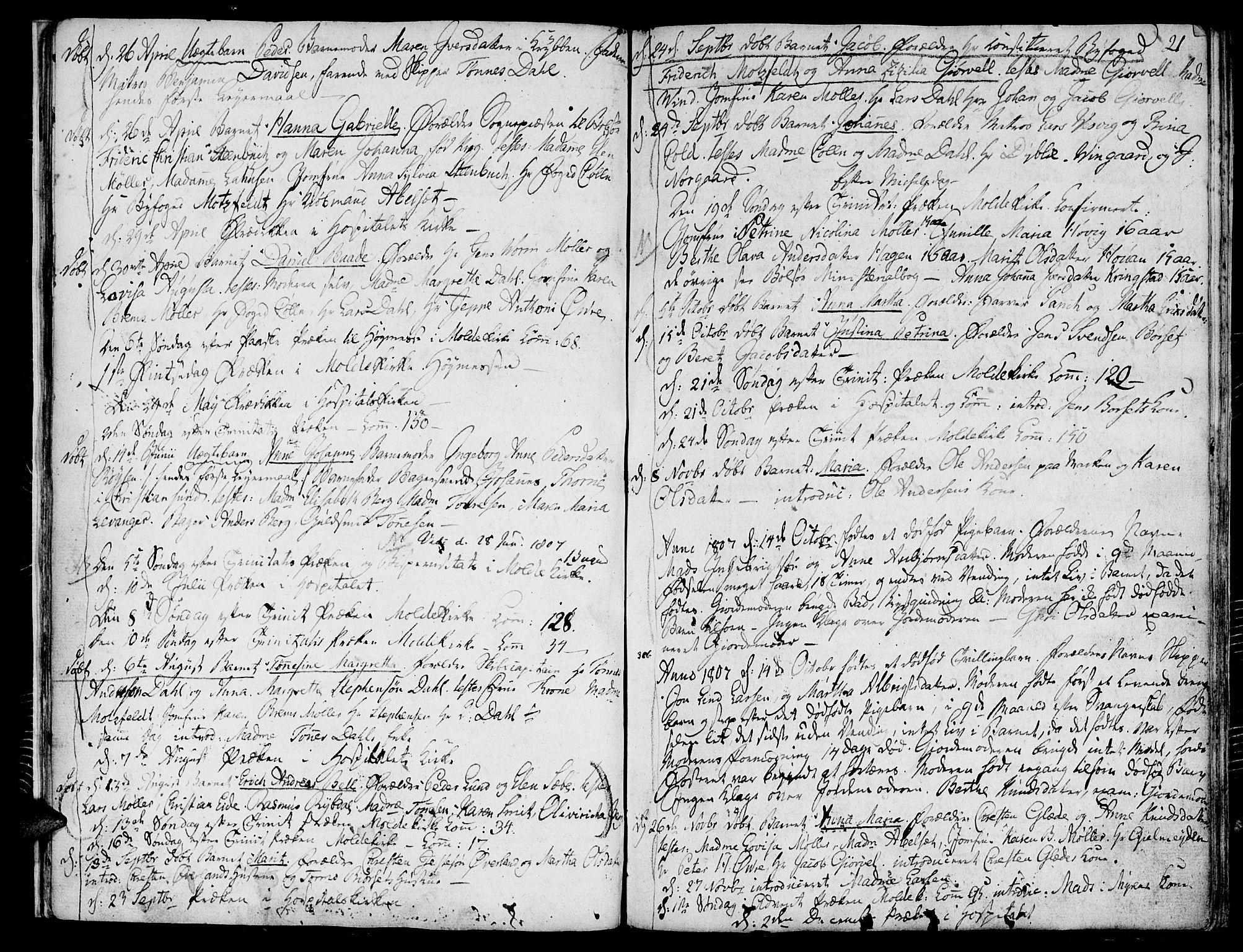 SAT, Ministerialprotokoller, klokkerbøker og fødselsregistre - Møre og Romsdal, 558/L0687: Ministerialbok nr. 558A01, 1798-1818, s. 21