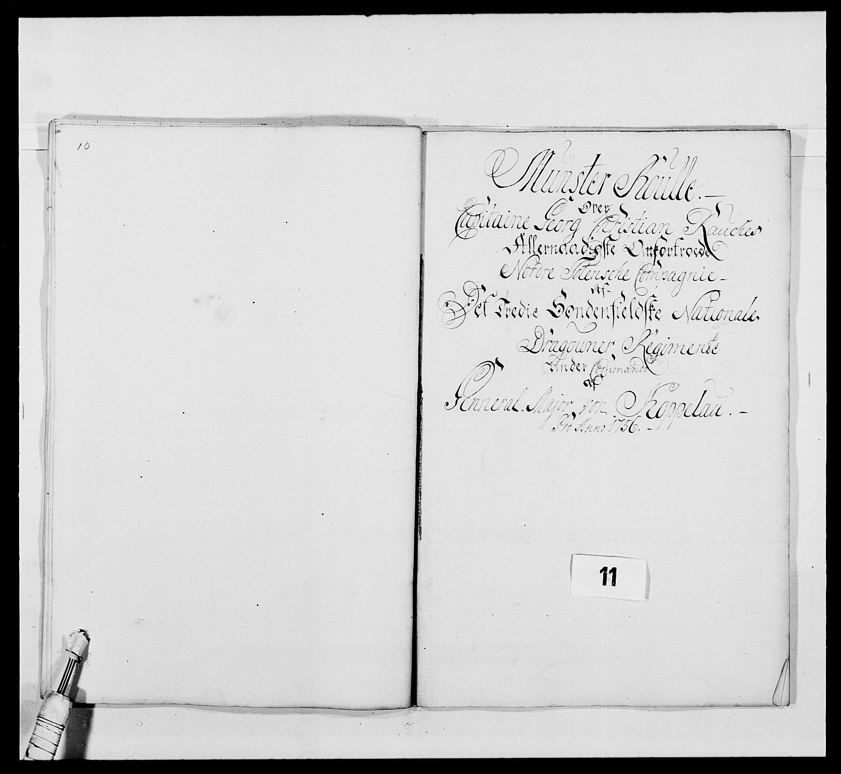 RA, Kommanderende general (KG I) med Det norske krigsdirektorium, E/Ea/L0479: 3. Sønnafjelske dragonregiment, 1756-1760, s. 201