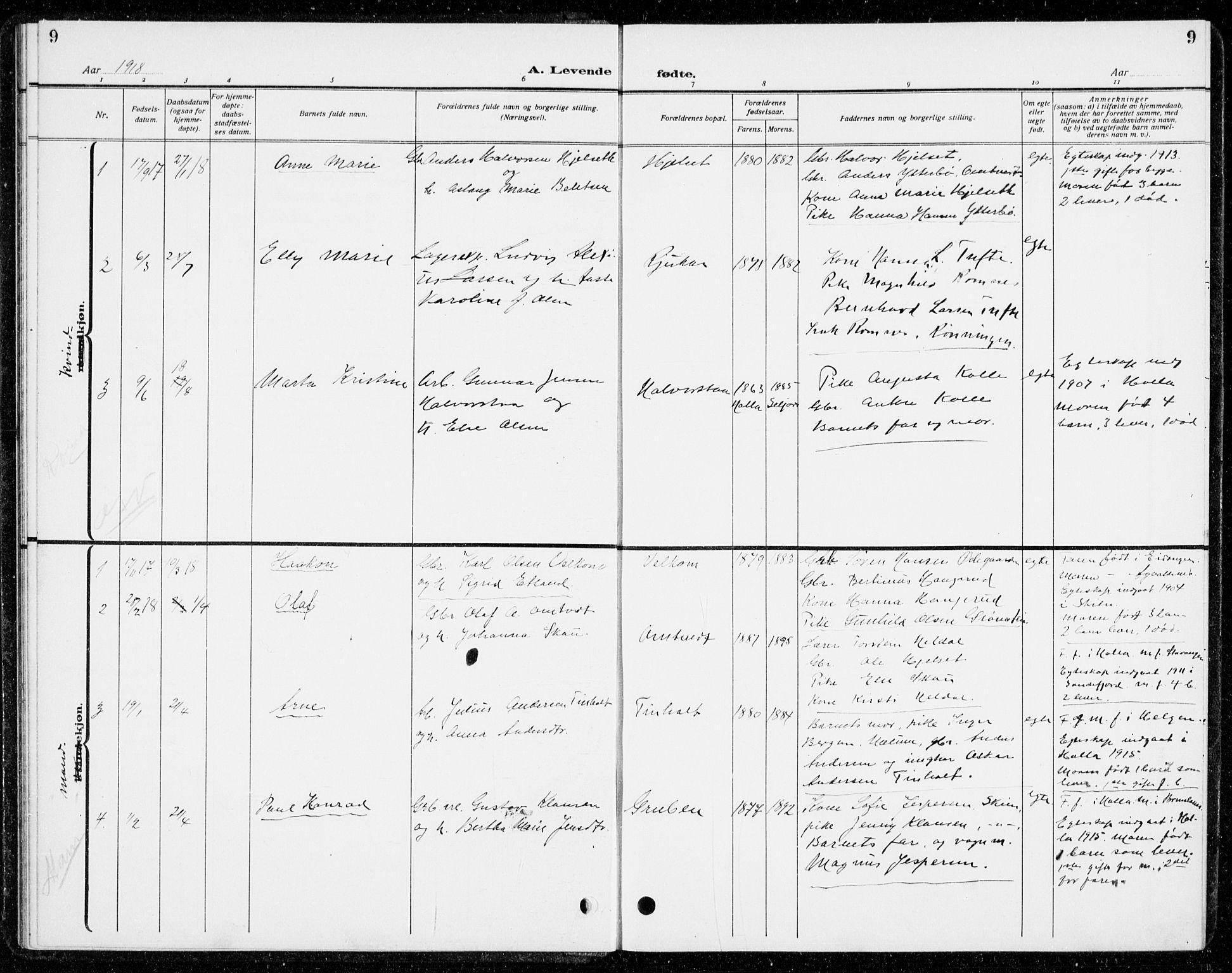 SAKO, Holla kirkebøker, G/Gb/L0003: Klokkerbok nr. II 3, 1914-1941, s. 9