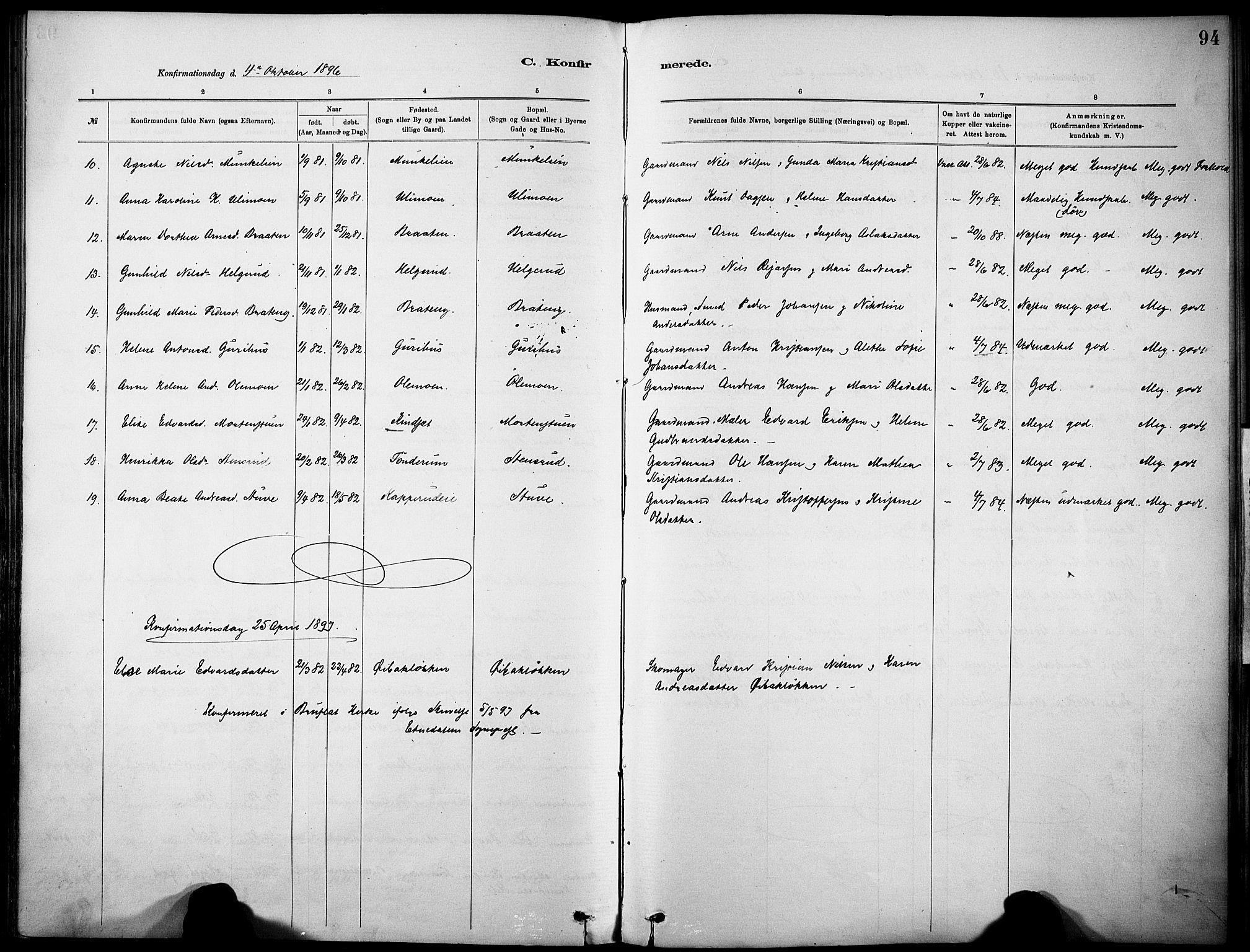 SAH, Nordre Land prestekontor, Ministerialbok nr. 5, 1882-1903, s. 94