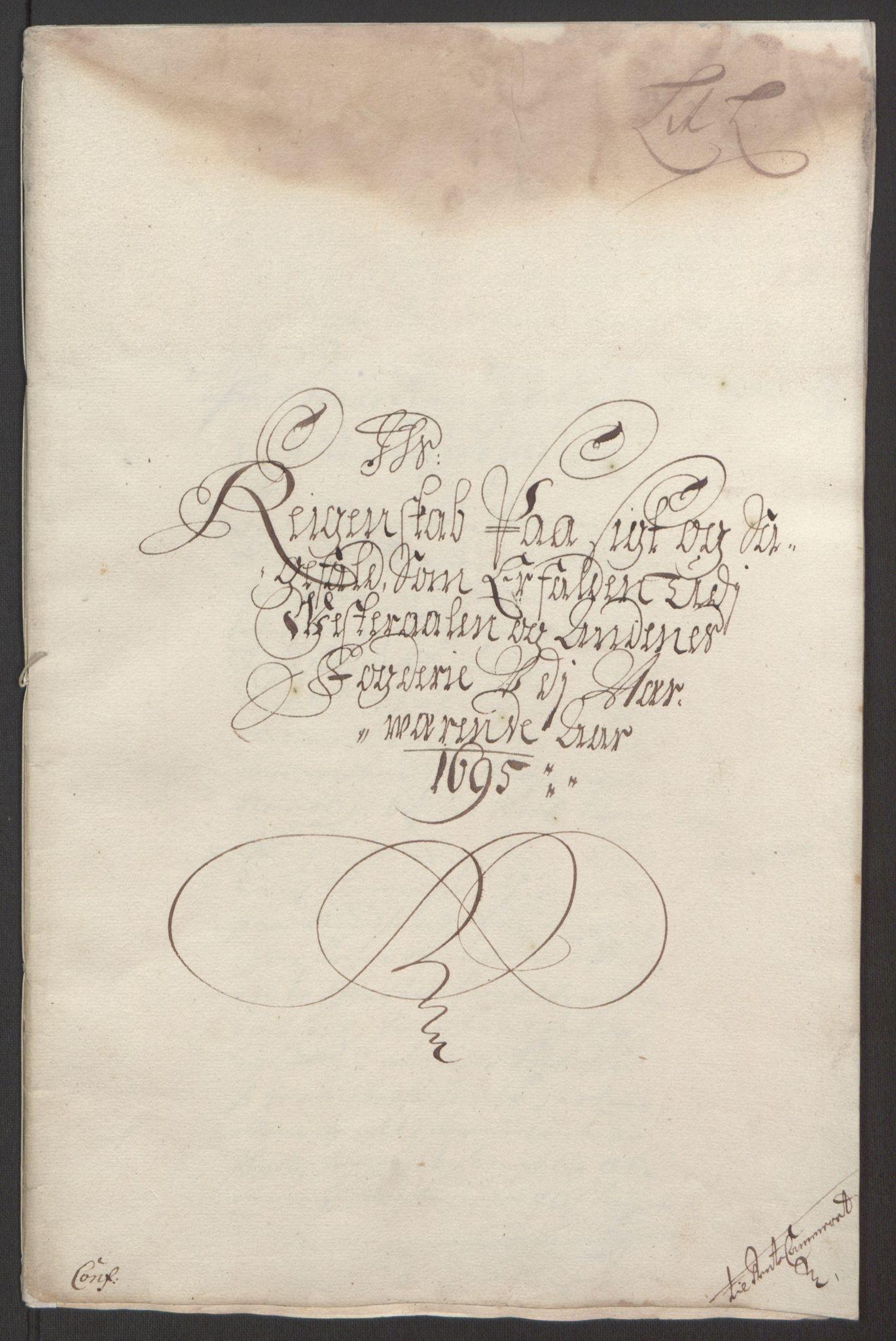 RA, Rentekammeret inntil 1814, Reviderte regnskaper, Fogderegnskap, R67/L4677: Fogderegnskap Vesterålen, Andenes og Lofoten, 1694-1695, s. 305