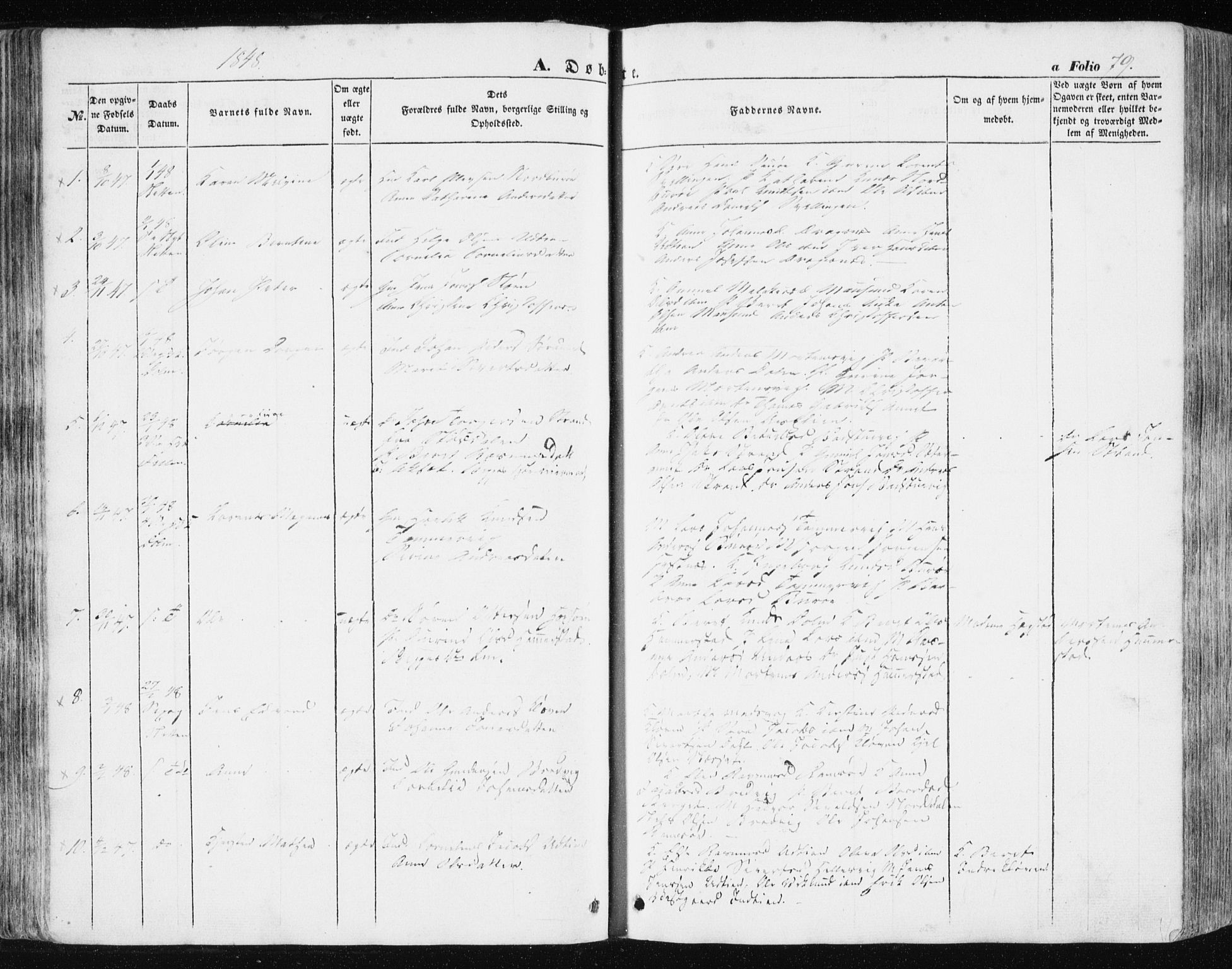 SAT, Ministerialprotokoller, klokkerbøker og fødselsregistre - Sør-Trøndelag, 634/L0529: Ministerialbok nr. 634A05, 1843-1851, s. 79