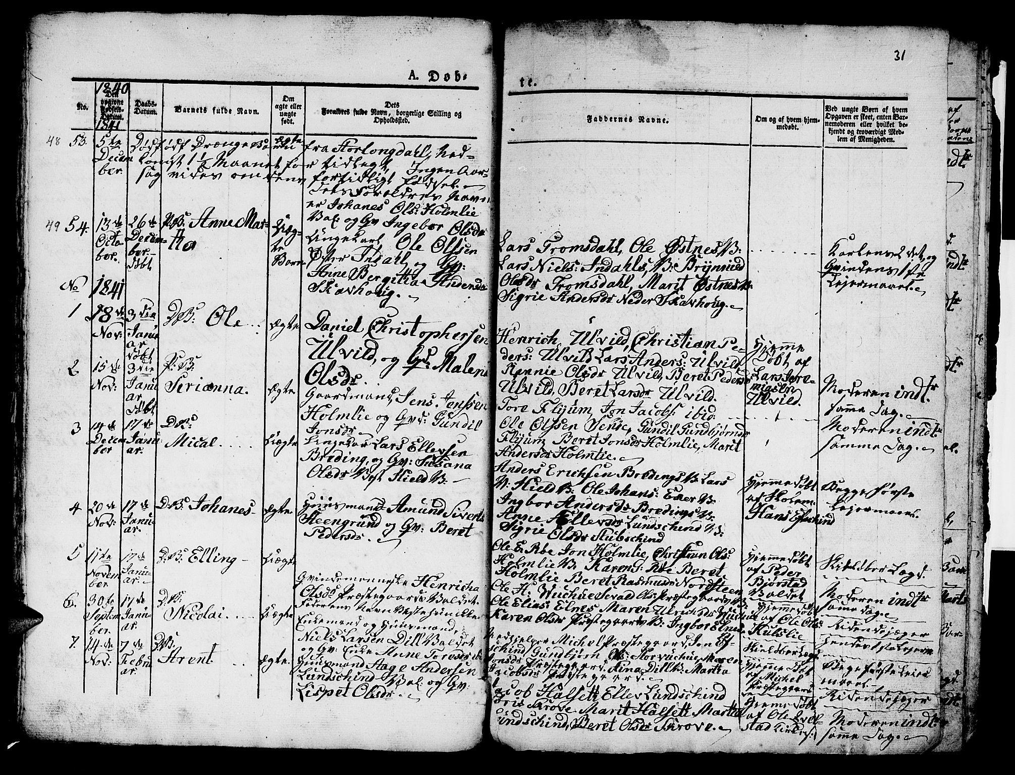 SAT, Ministerialprotokoller, klokkerbøker og fødselsregistre - Nord-Trøndelag, 724/L0266: Klokkerbok nr. 724C02, 1836-1843, s. 31