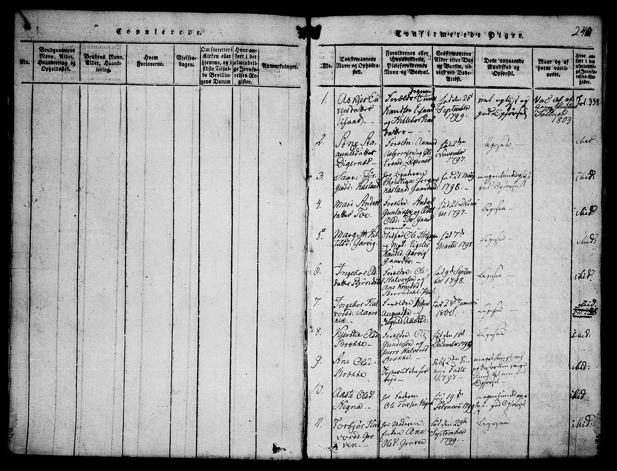 SAKO, Seljord kirkebøker, F/Fa/L0010: Ministerialbok nr. I 10, 1815-1831, s. 240