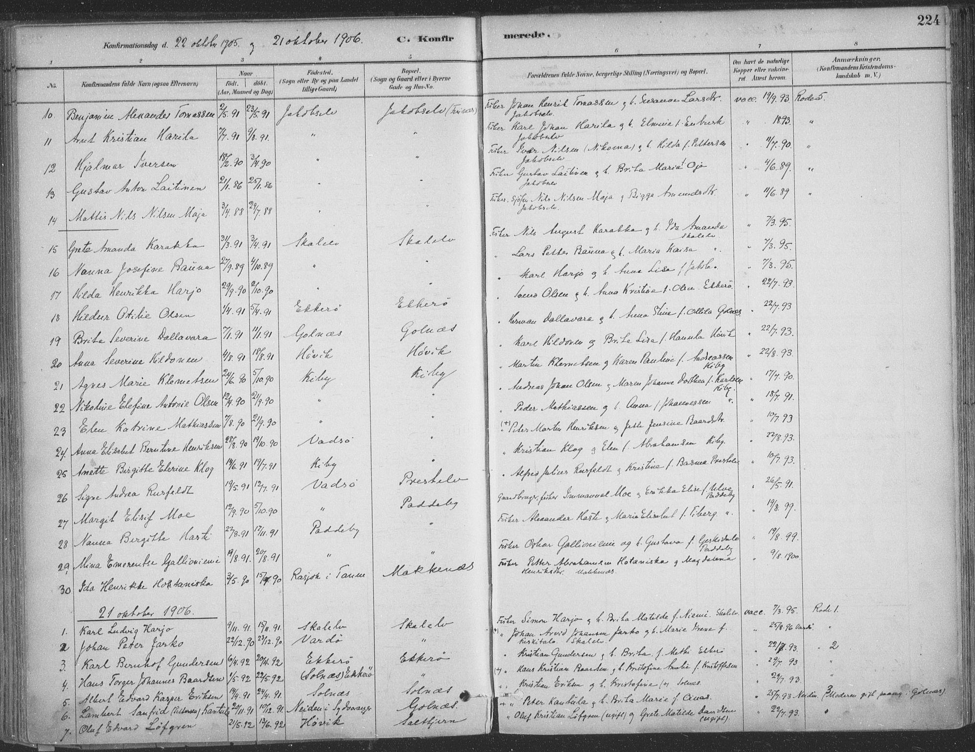 SATØ, Vadsø sokneprestkontor, H/Ha/L0009kirke: Ministerialbok nr. 9, 1881-1917, s. 224