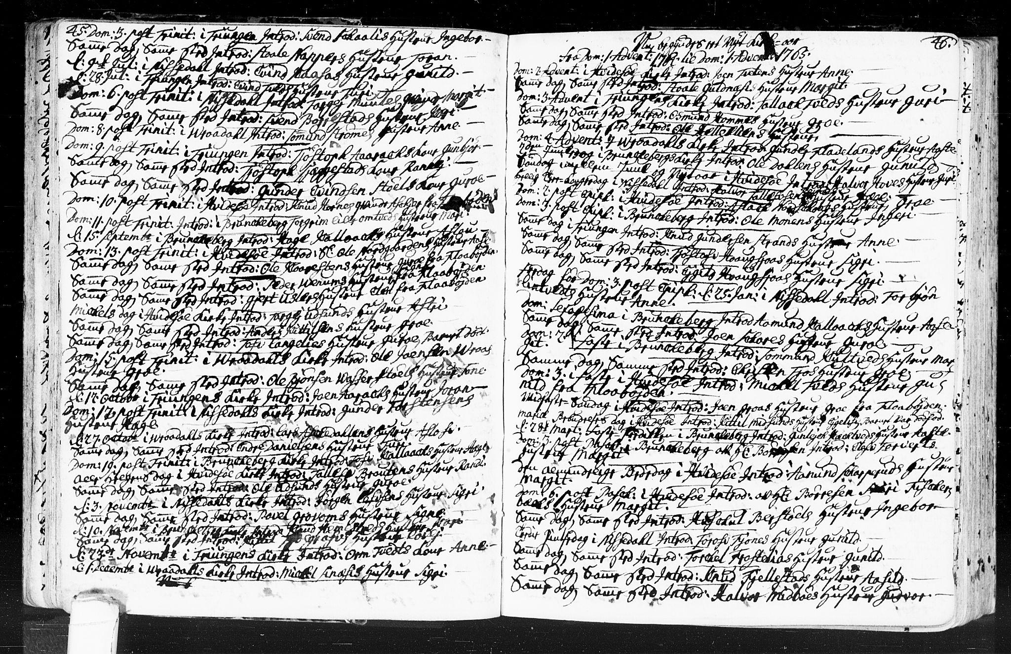 SAKO, Kviteseid kirkebøker, F/Fa/L0001: Ministerialbok nr. I 1, 1754-1773, s. 45-46