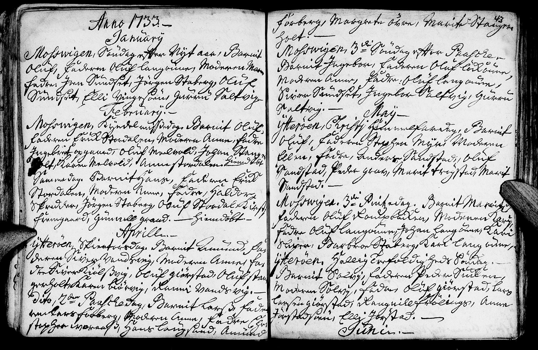 SAT, Ministerialprotokoller, klokkerbøker og fødselsregistre - Nord-Trøndelag, 722/L0215: Ministerialbok nr. 722A02, 1718-1755, s. 43