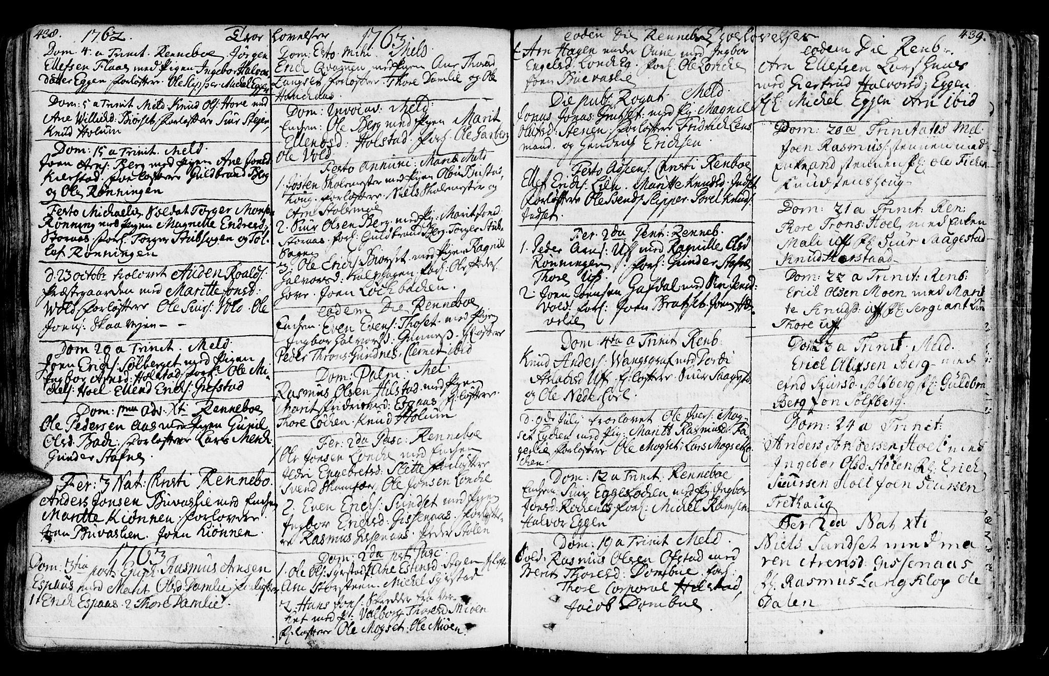 SAT, Ministerialprotokoller, klokkerbøker og fødselsregistre - Sør-Trøndelag, 672/L0851: Ministerialbok nr. 672A04, 1751-1775, s. 438-439