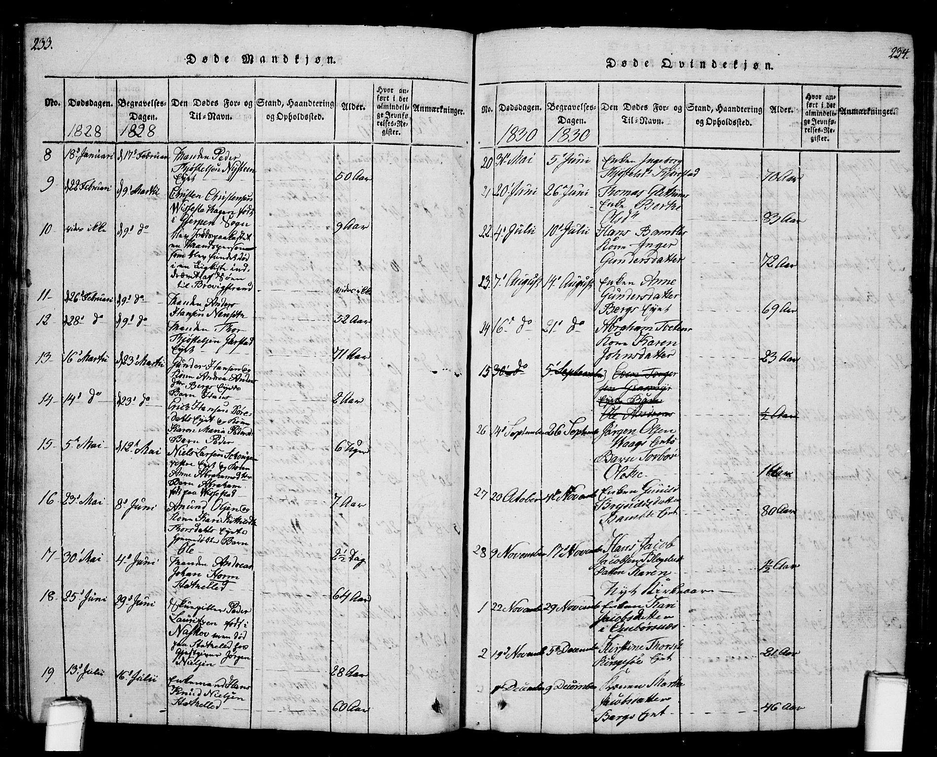 SAKO, Bamble kirkebøker, G/Ga/L0005: Klokkerbok nr. I 5, 1814-1855, s. 233-234