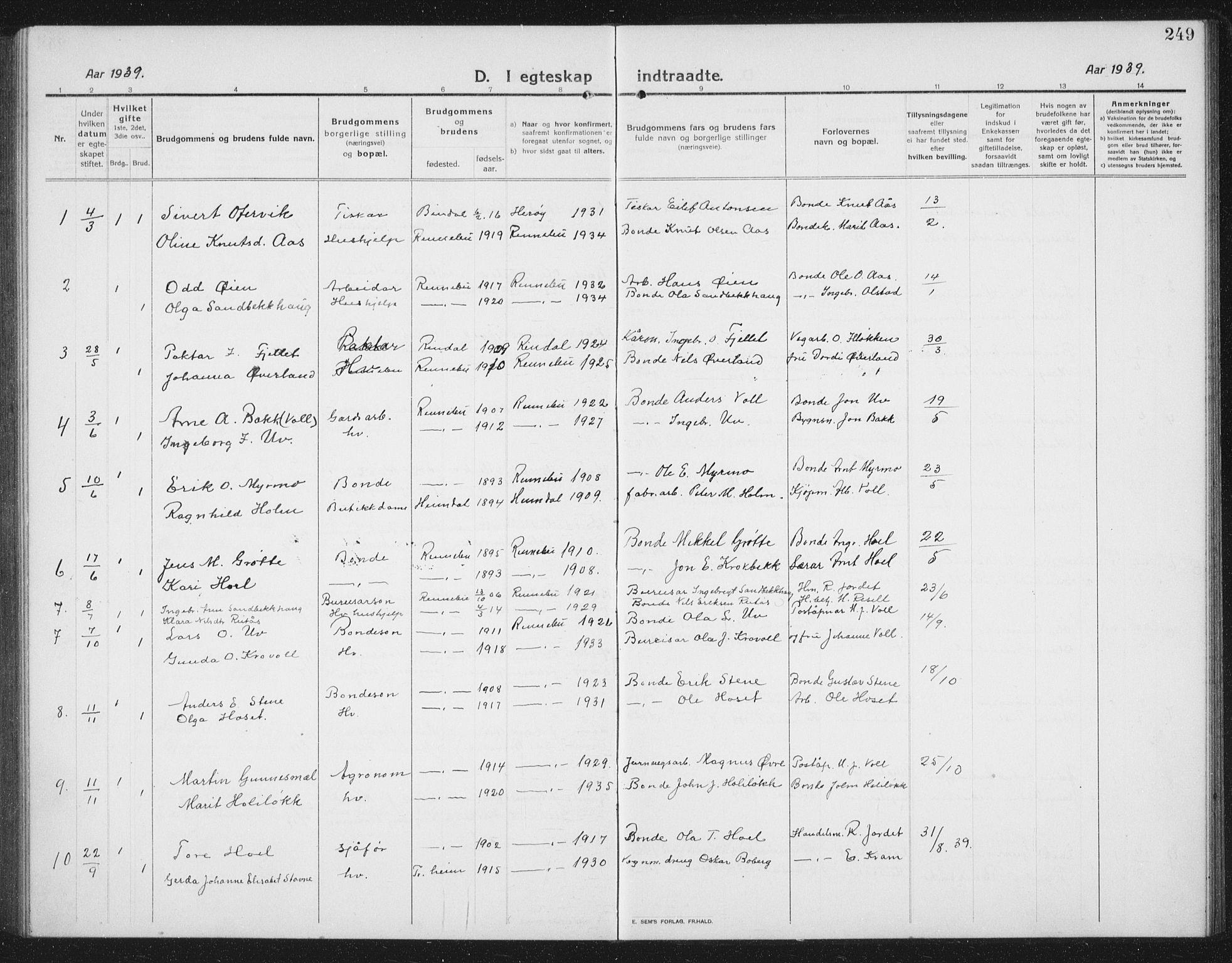 SAT, Ministerialprotokoller, klokkerbøker og fødselsregistre - Sør-Trøndelag, 674/L0877: Klokkerbok nr. 674C04, 1913-1940, s. 249