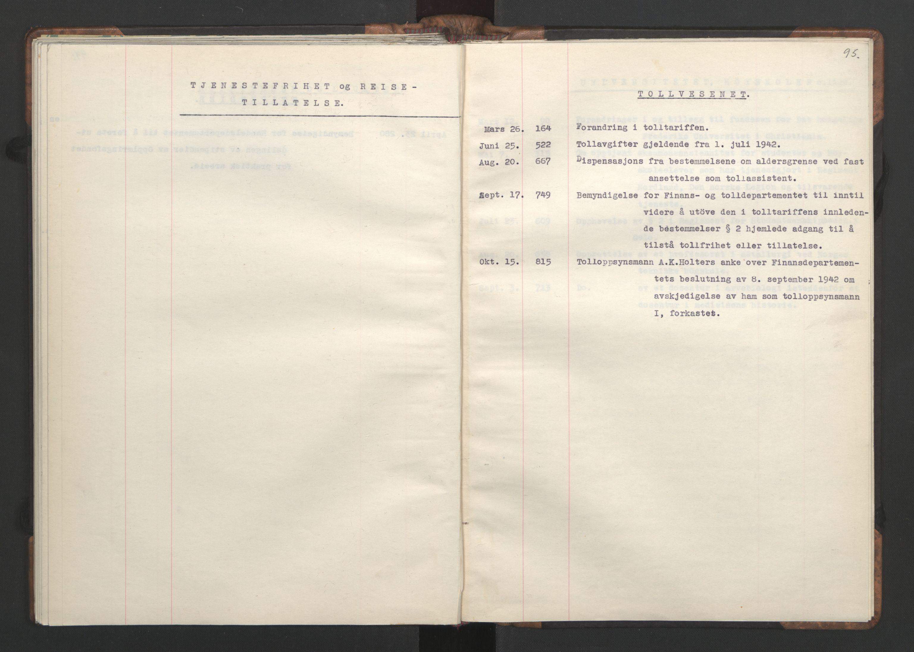 RA, NS-administrasjonen 1940-1945 (Statsrådsekretariatet, de kommisariske statsråder mm), D/Da/L0002: Register (RA j.nr. 985/1943, tilgangsnr. 17/1943), 1942, s. 94b-95a