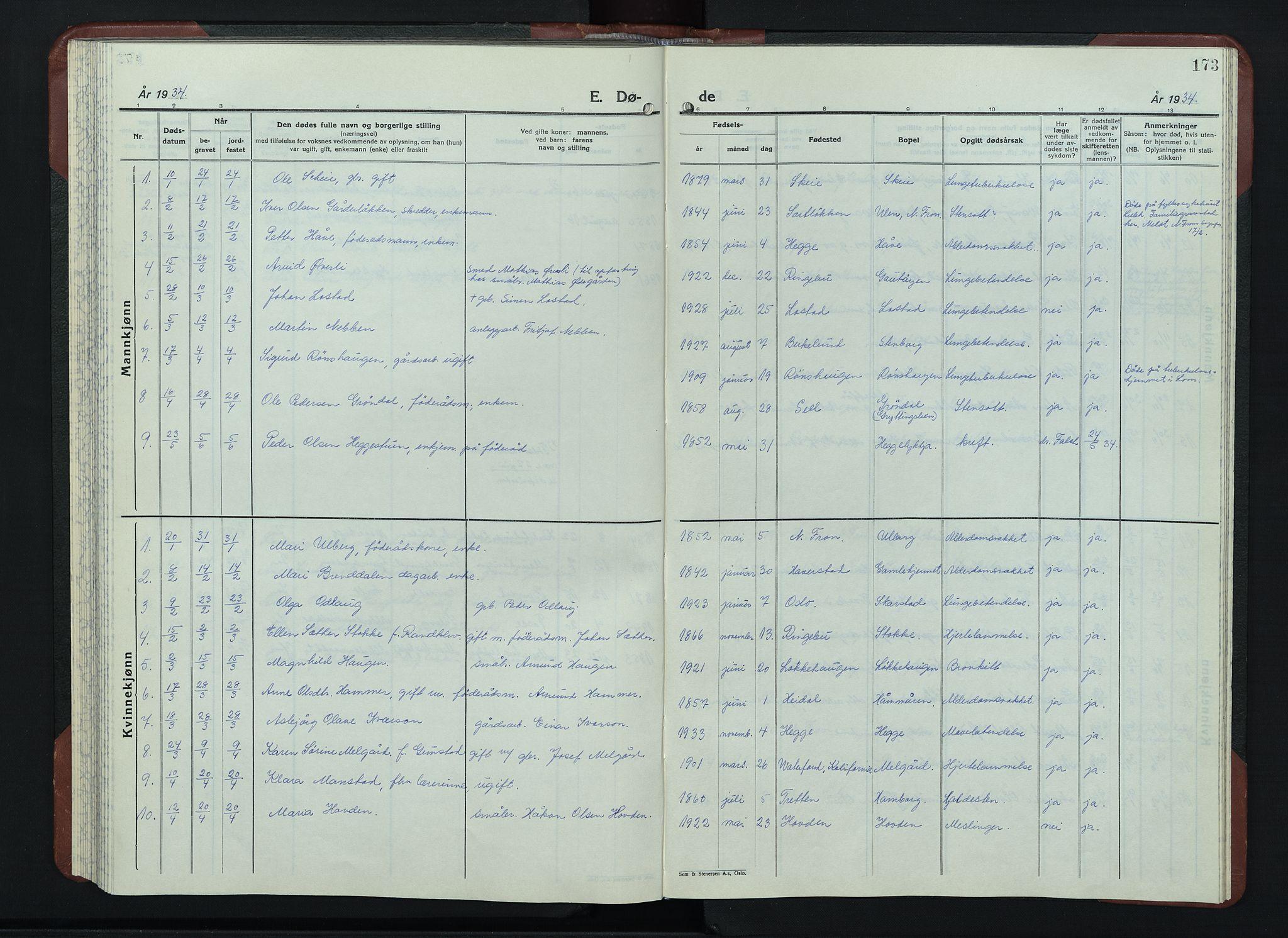 SAH, Sør-Fron prestekontor, H/Ha/Hab/L0006: Klokkerbok nr. 6, 1933-1948, s. 173