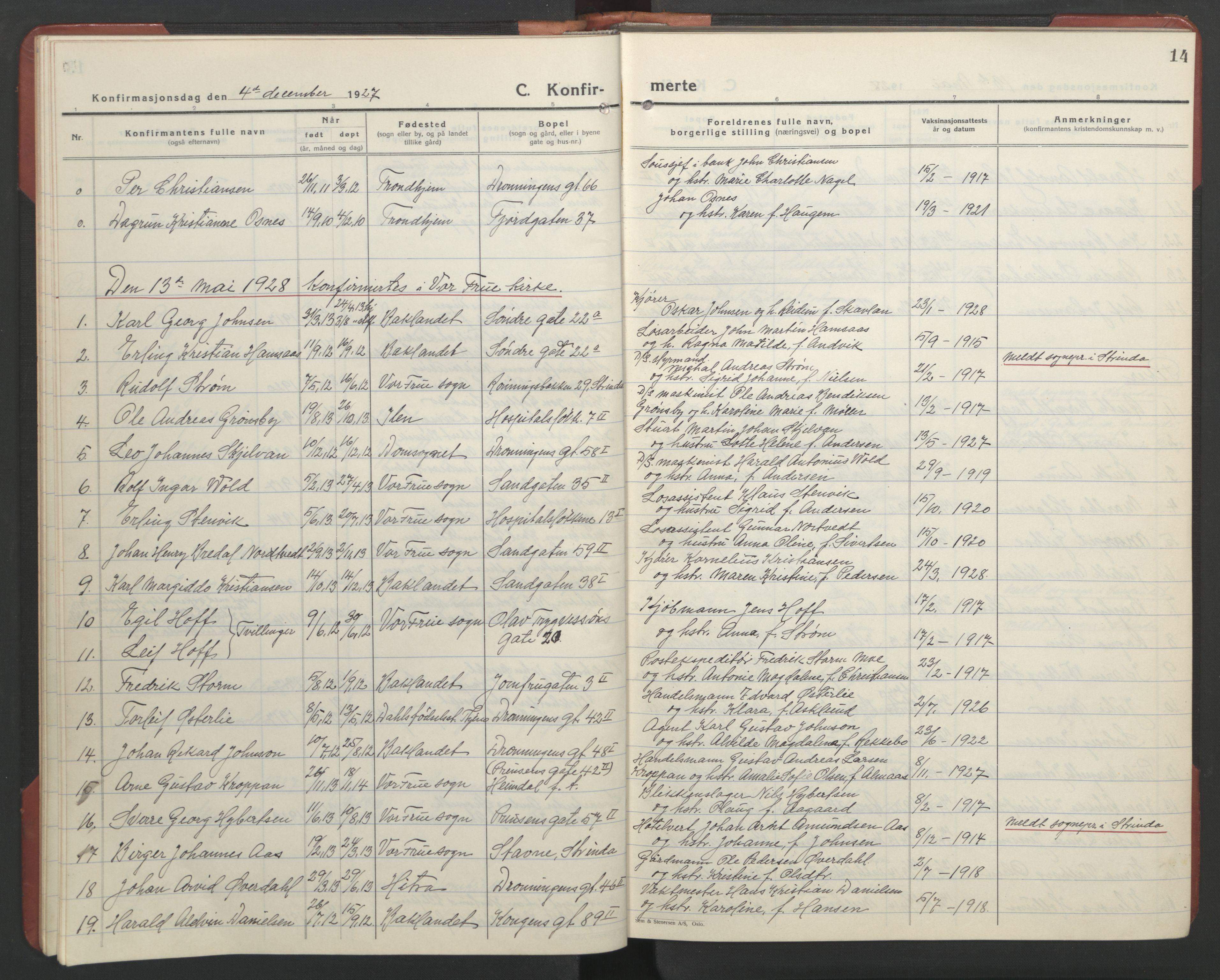SAT, Ministerialprotokoller, klokkerbøker og fødselsregistre - Sør-Trøndelag, 602/L0151: Klokkerbok nr. 602C19, 1925-1951, s. 14