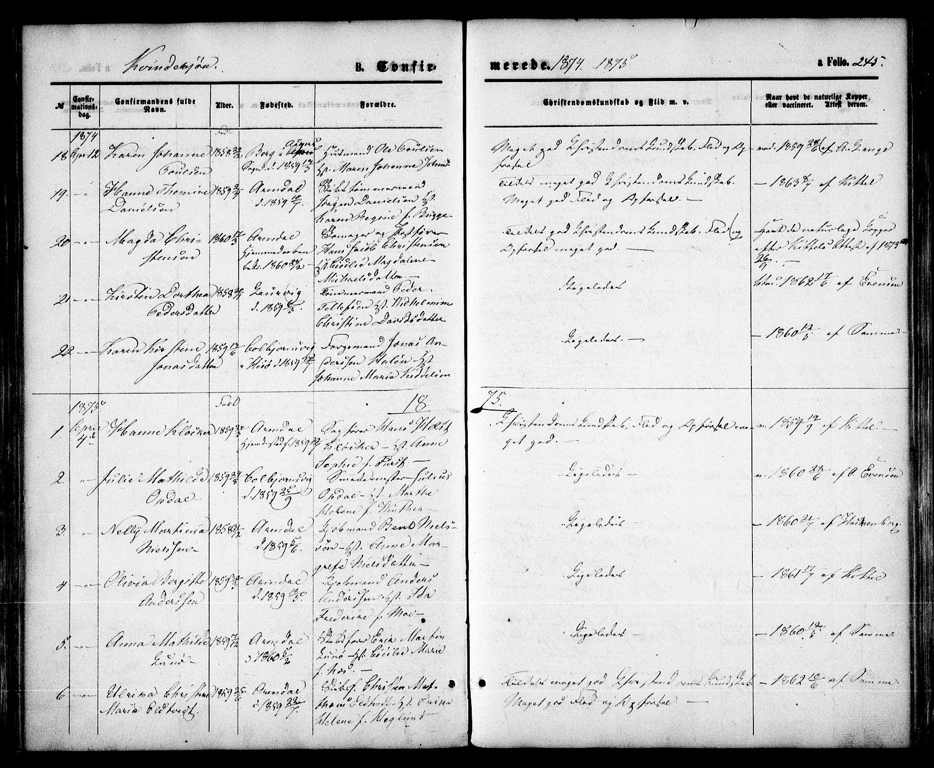 SAK, Arendal sokneprestkontor, Trefoldighet, F/Fa/L0007: Ministerialbok nr. A 7, 1868-1878, s. 245