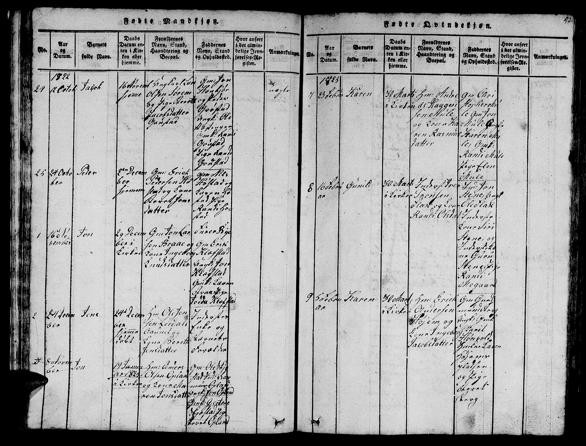 SAT, Ministerialprotokoller, klokkerbøker og fødselsregistre - Sør-Trøndelag, 612/L0385: Klokkerbok nr. 612C01, 1816-1845, s. 42