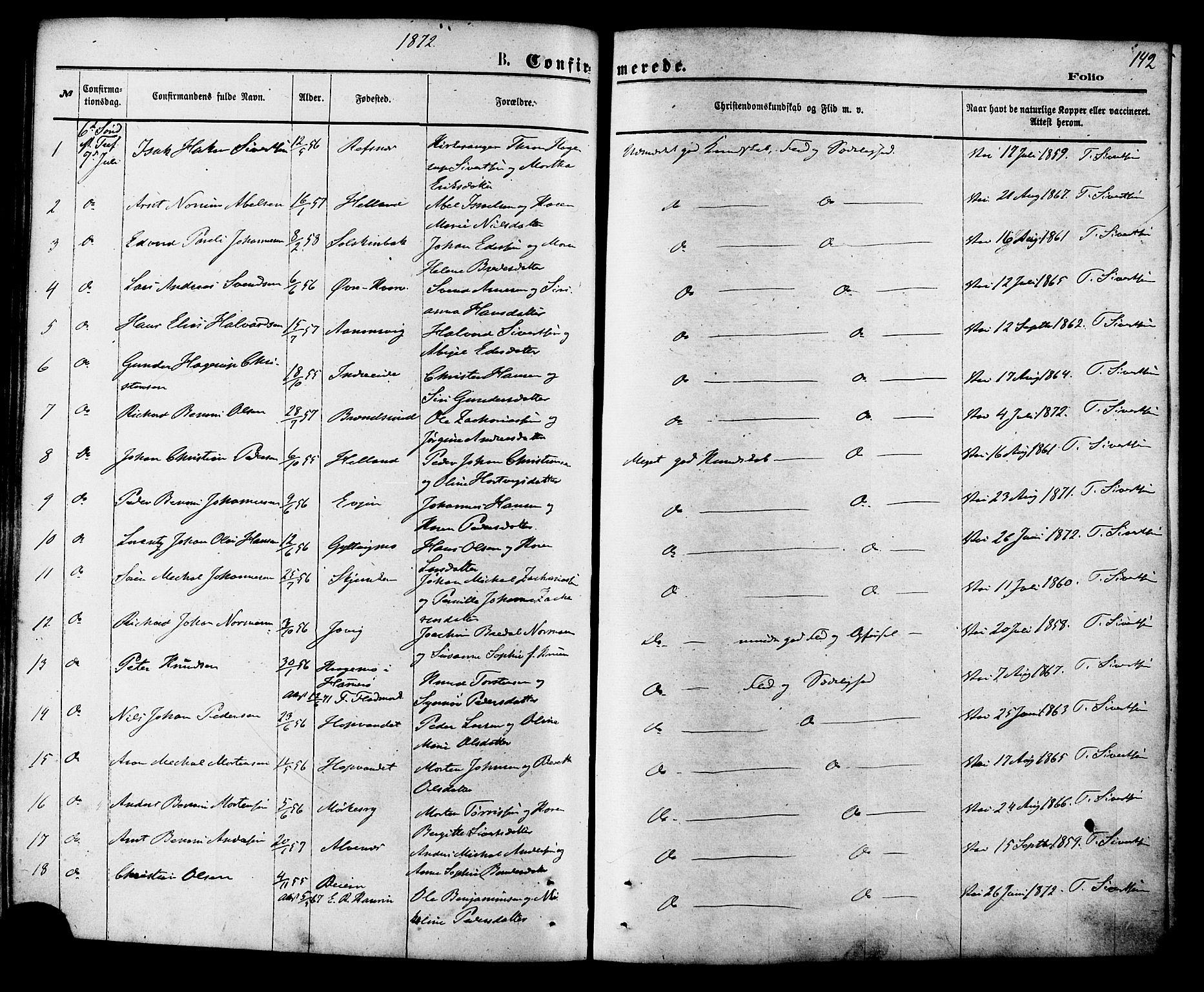 SAT, Ministerialprotokoller, klokkerbøker og fødselsregistre - Nordland, 853/L0771: Ministerialbok nr. 853A10, 1870-1881, s. 142