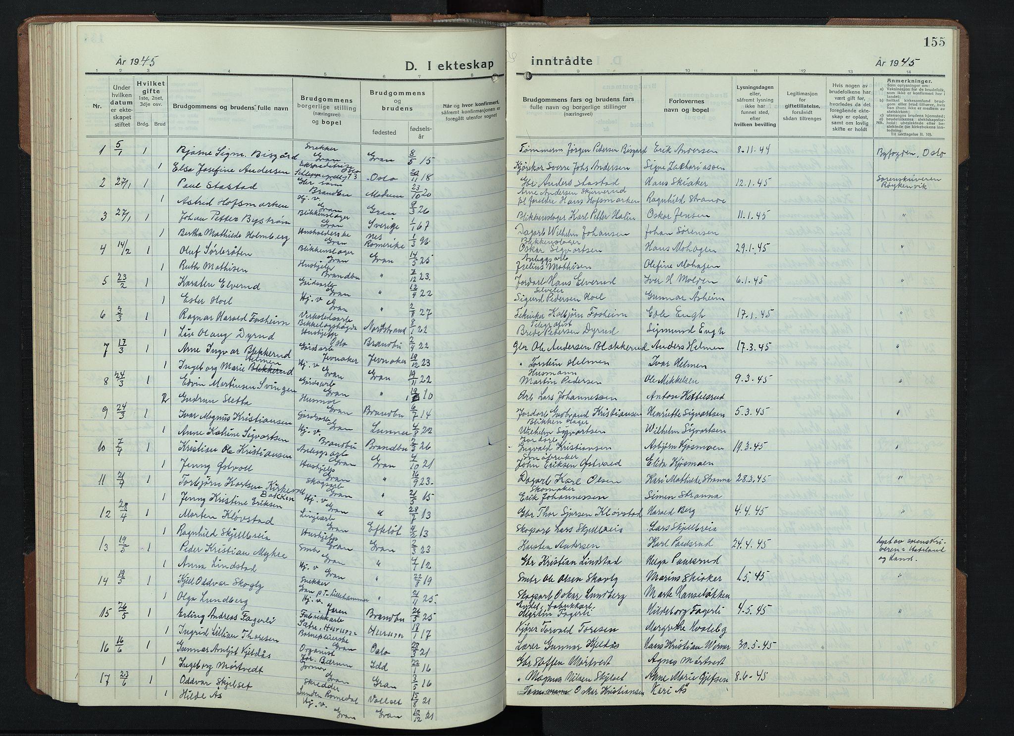 SAH, Gran prestekontor, Klokkerbok nr. 9, 1933-1950, s. 155