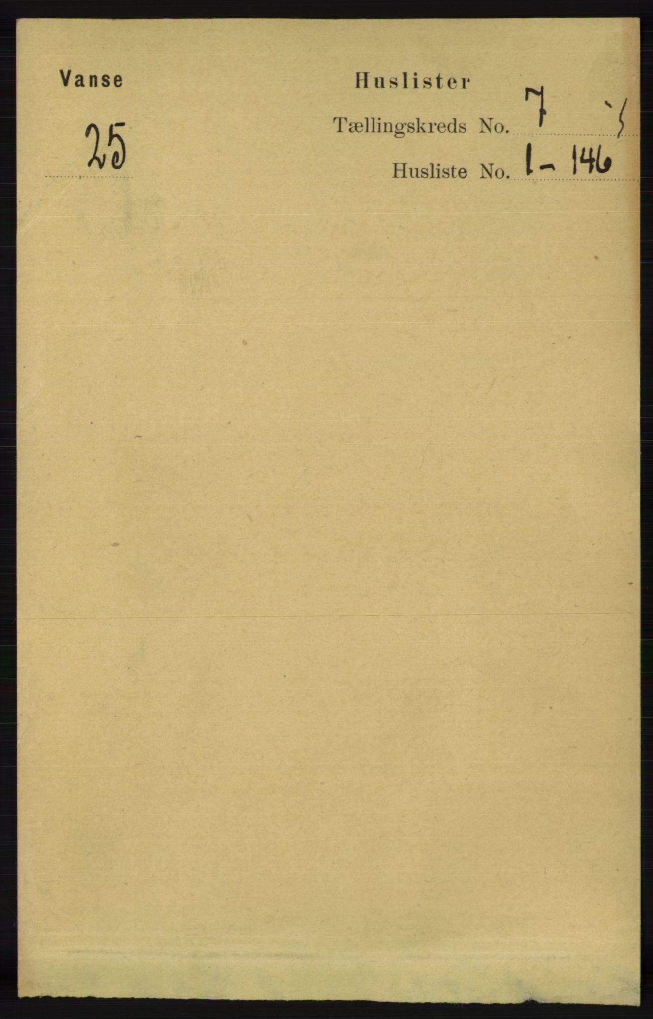 RA, Folketelling 1891 for 1041 Vanse herred, 1891, s. 3936