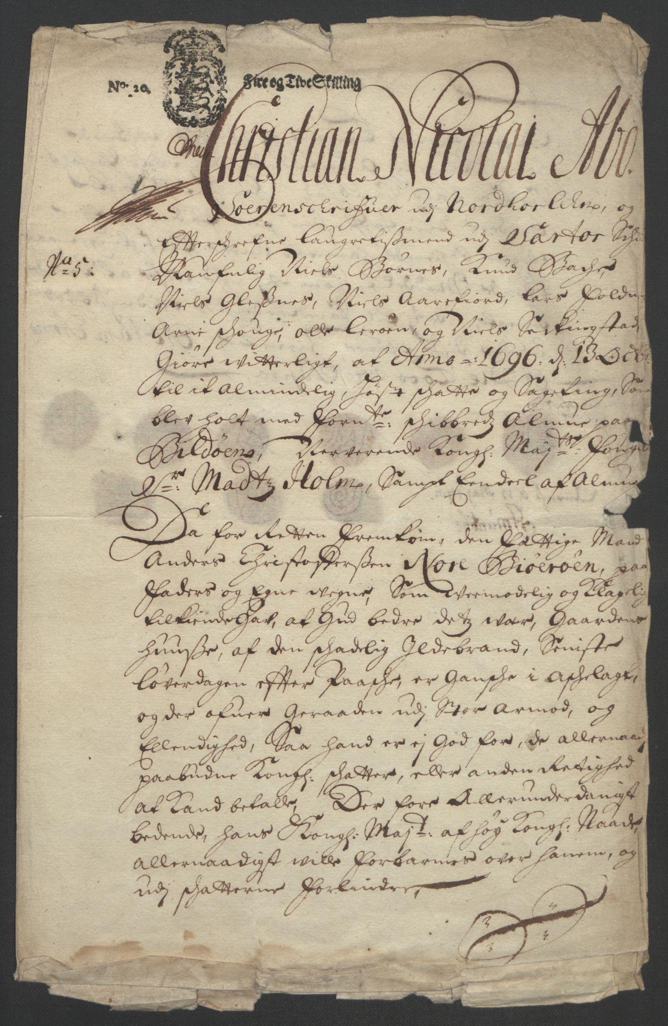 RA, Rentekammeret inntil 1814, Reviderte regnskaper, Fogderegnskap, R51/L3183: Fogderegnskap Nordhordland og Voss, 1695-1697, s. 270