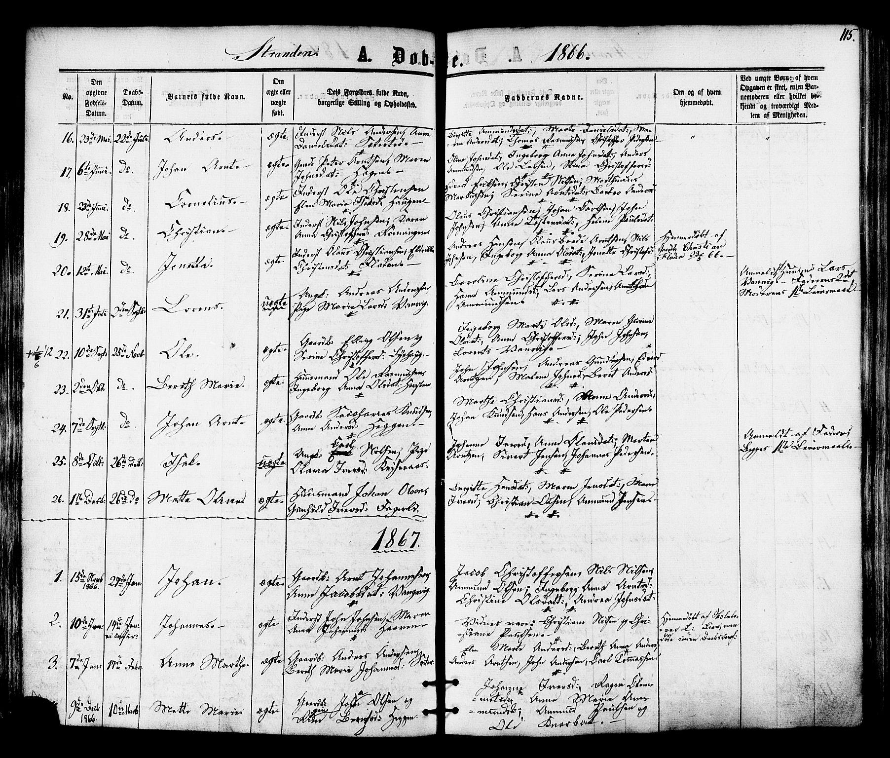 SAT, Ministerialprotokoller, klokkerbøker og fødselsregistre - Nord-Trøndelag, 701/L0009: Ministerialbok nr. 701A09 /2, 1864-1882, s. 115