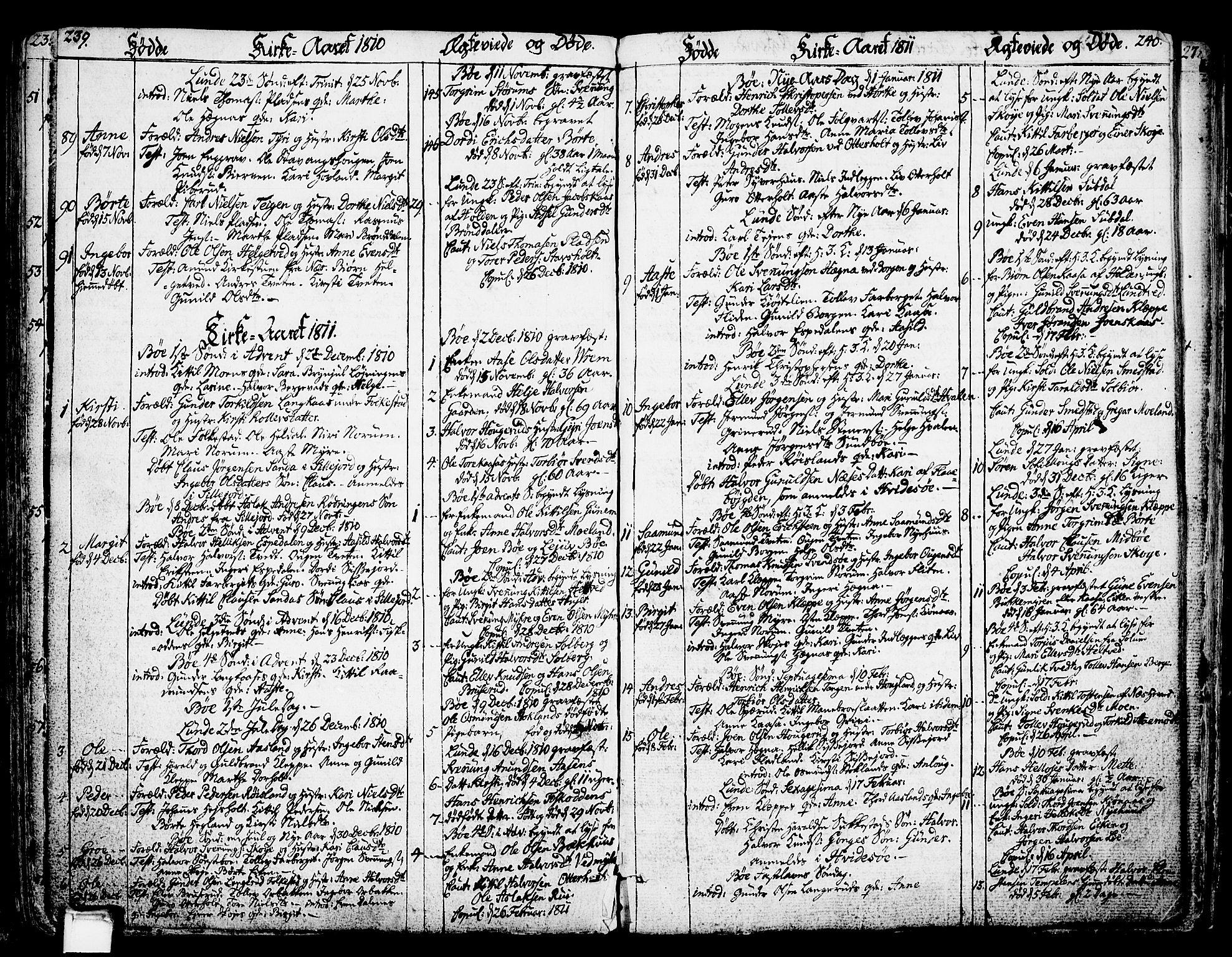 SAKO, Bø kirkebøker, F/Fa/L0005: Ministerialbok nr. 5, 1785-1815, s. 239-240