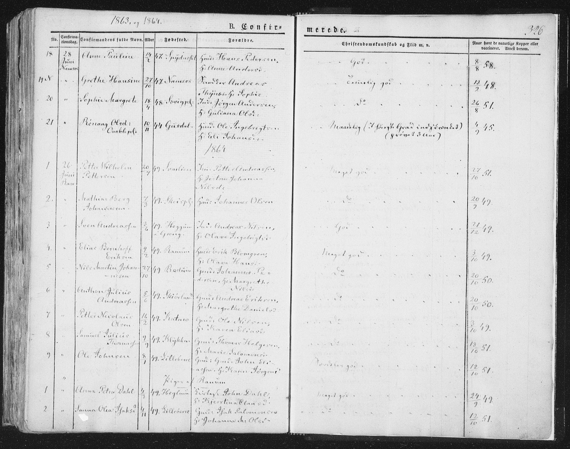 SAT, Ministerialprotokoller, klokkerbøker og fødselsregistre - Nord-Trøndelag, 764/L0551: Ministerialbok nr. 764A07a, 1824-1864, s. 326