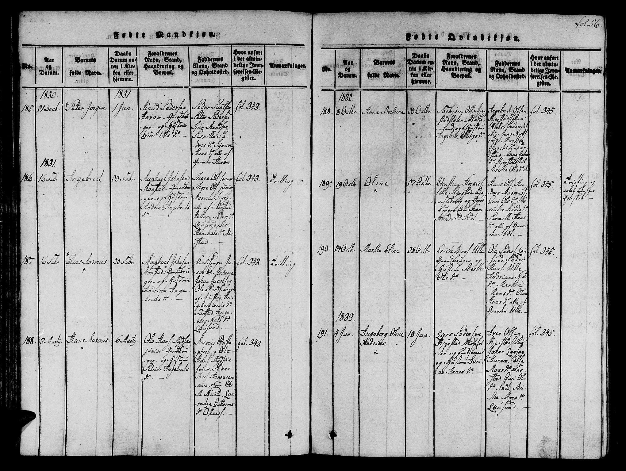 SAT, Ministerialprotokoller, klokkerbøker og fødselsregistre - Møre og Romsdal, 536/L0495: Ministerialbok nr. 536A04, 1818-1847, s. 56