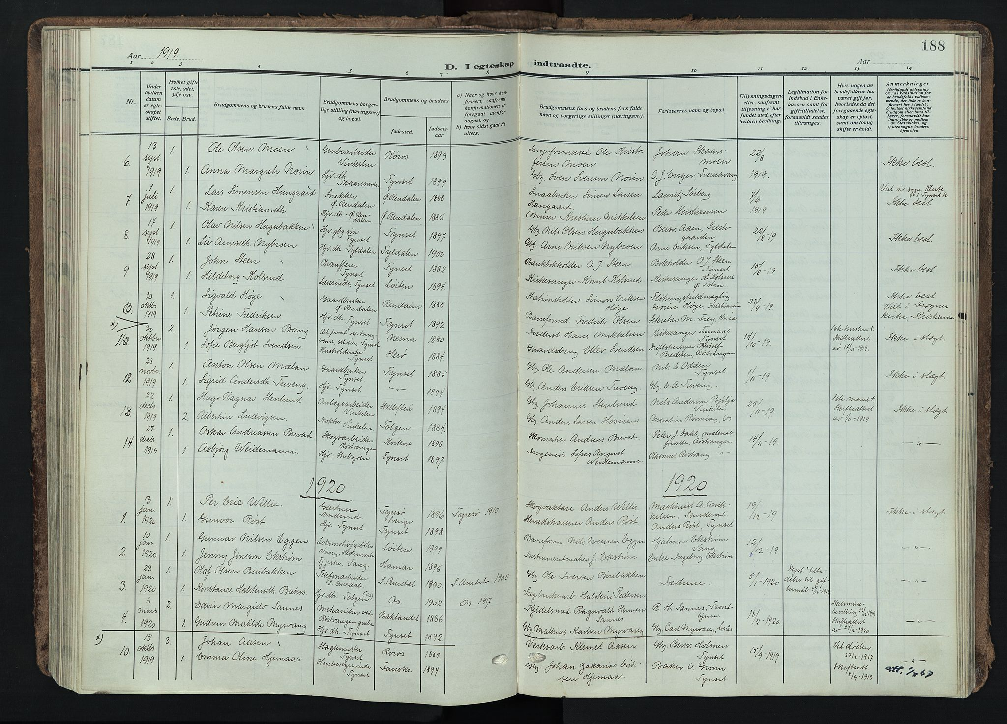 SAH, Tynset prestekontor, Ministerialbok nr. 26, 1915-1929, s. 188