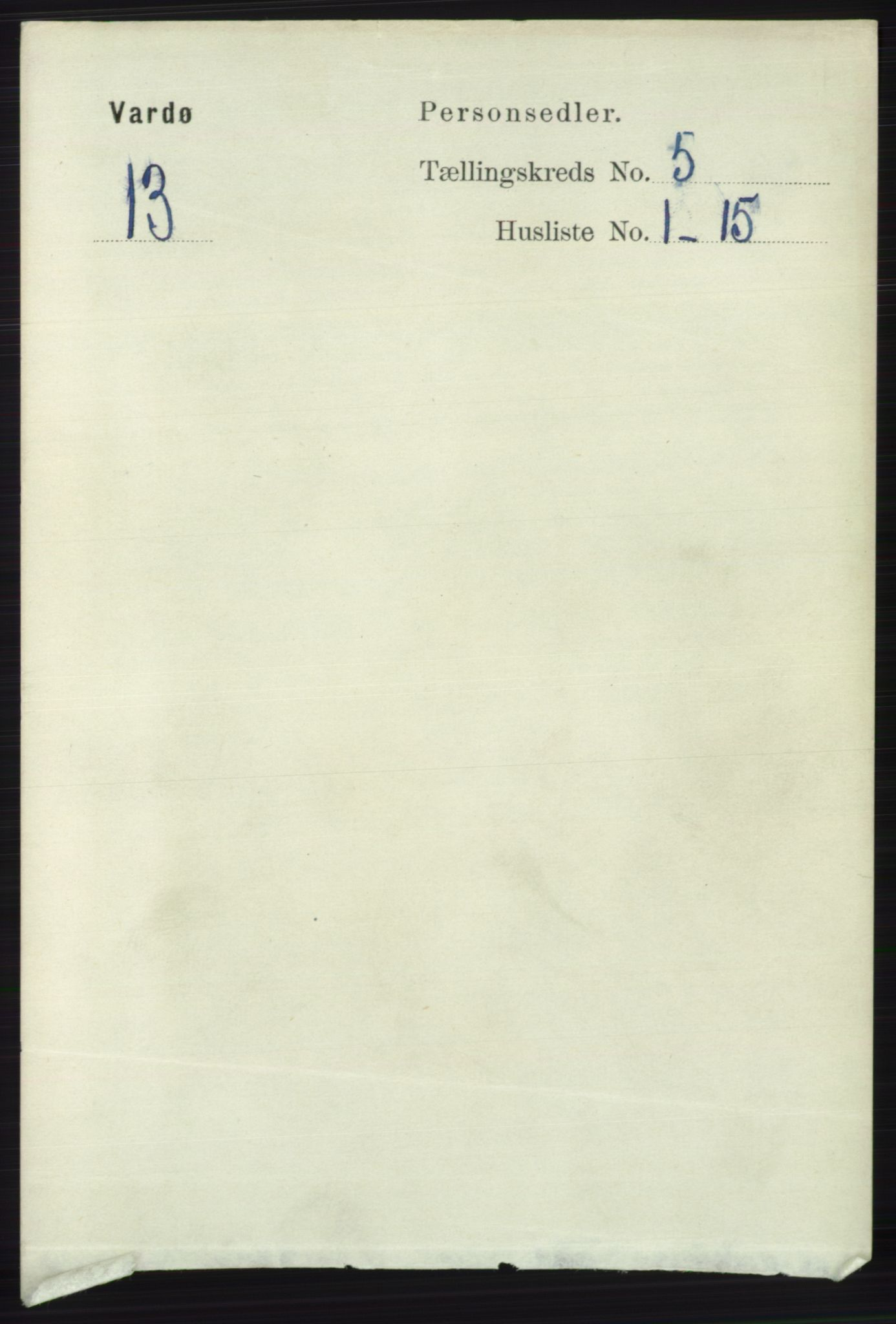 RA, Folketelling 1891 for 2002 Vardø kjøpstad, 1891, s. 2326