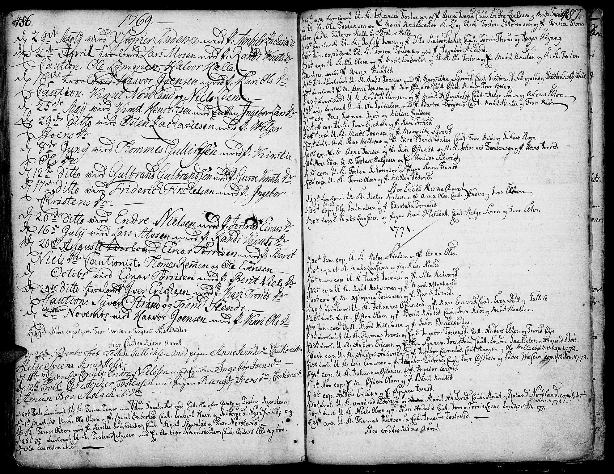 SAH, Vang prestekontor, Valdres, Ministerialbok nr. 1, 1730-1796, s. 486-487
