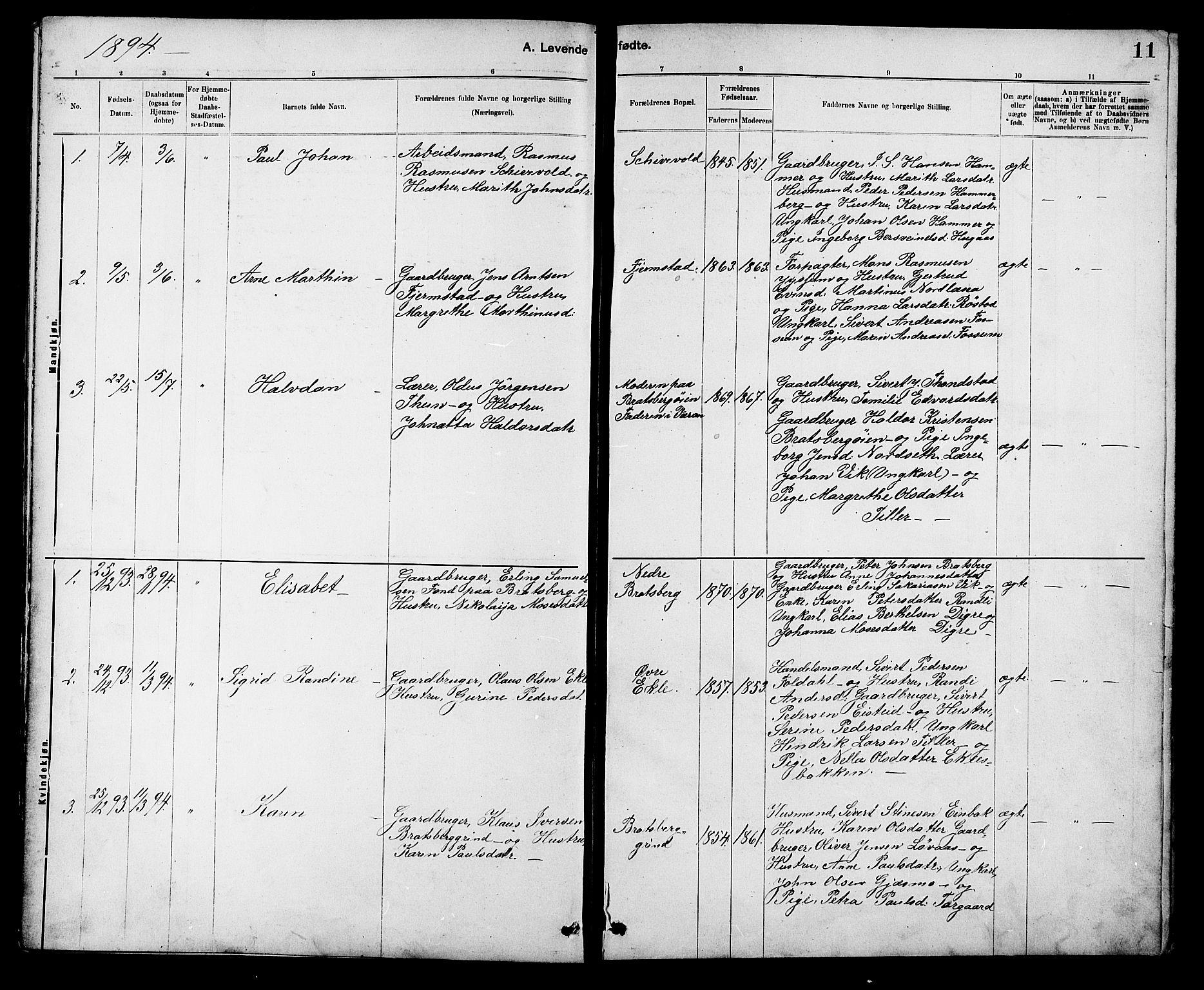 SAT, Ministerialprotokoller, klokkerbøker og fødselsregistre - Sør-Trøndelag, 608/L0341: Klokkerbok nr. 608C07, 1890-1912, s. 11