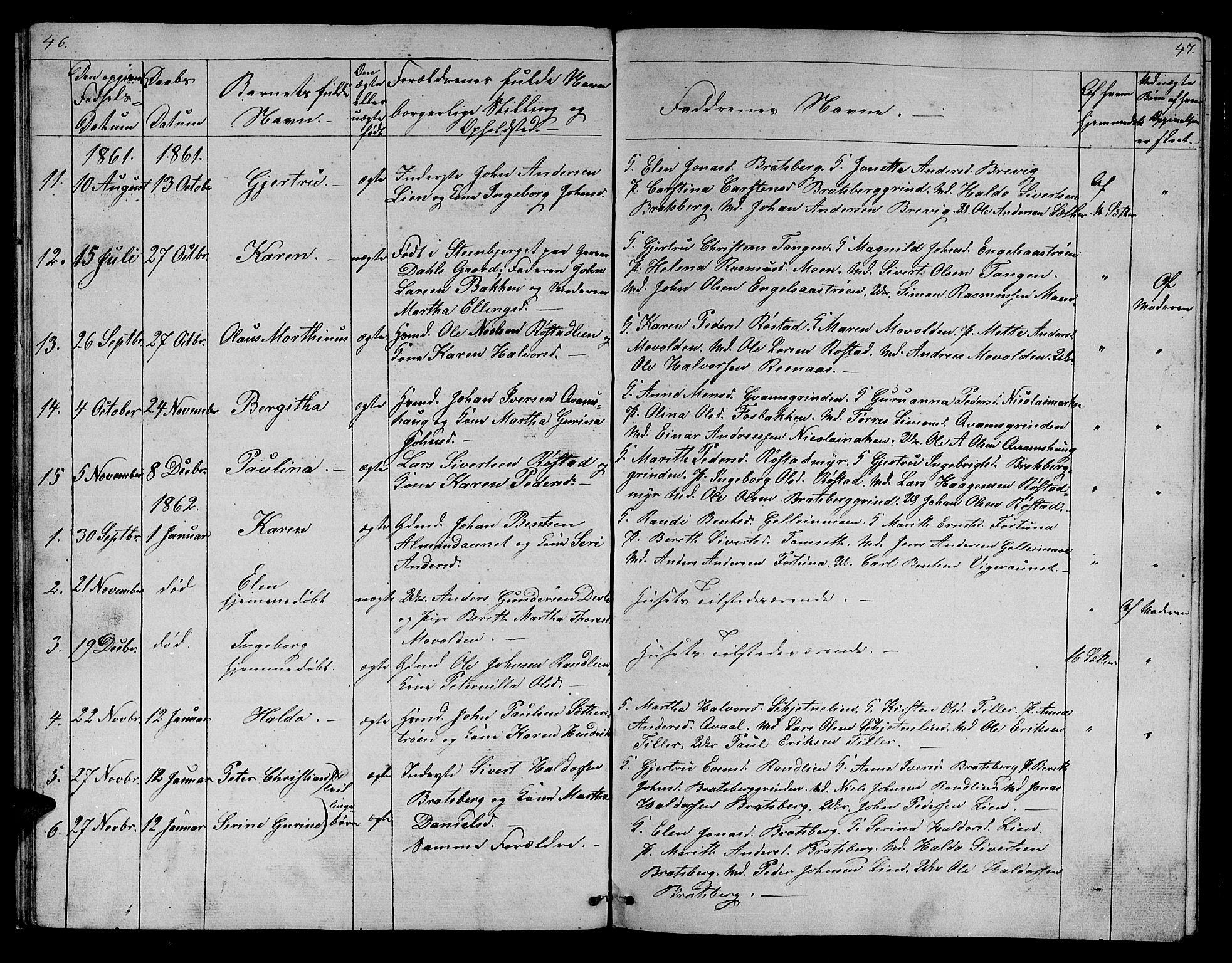SAT, Ministerialprotokoller, klokkerbøker og fødselsregistre - Sør-Trøndelag, 608/L0339: Klokkerbok nr. 608C05, 1844-1863, s. 46-47