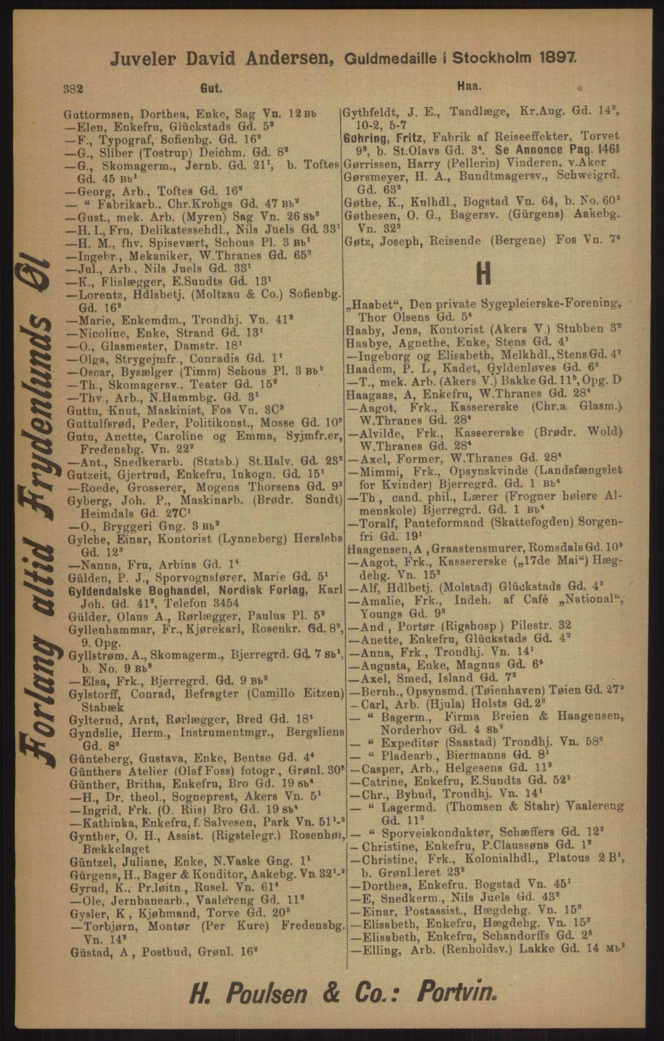 RA, Kristiania adressebok (publikasjon)*, 1905, s. 382