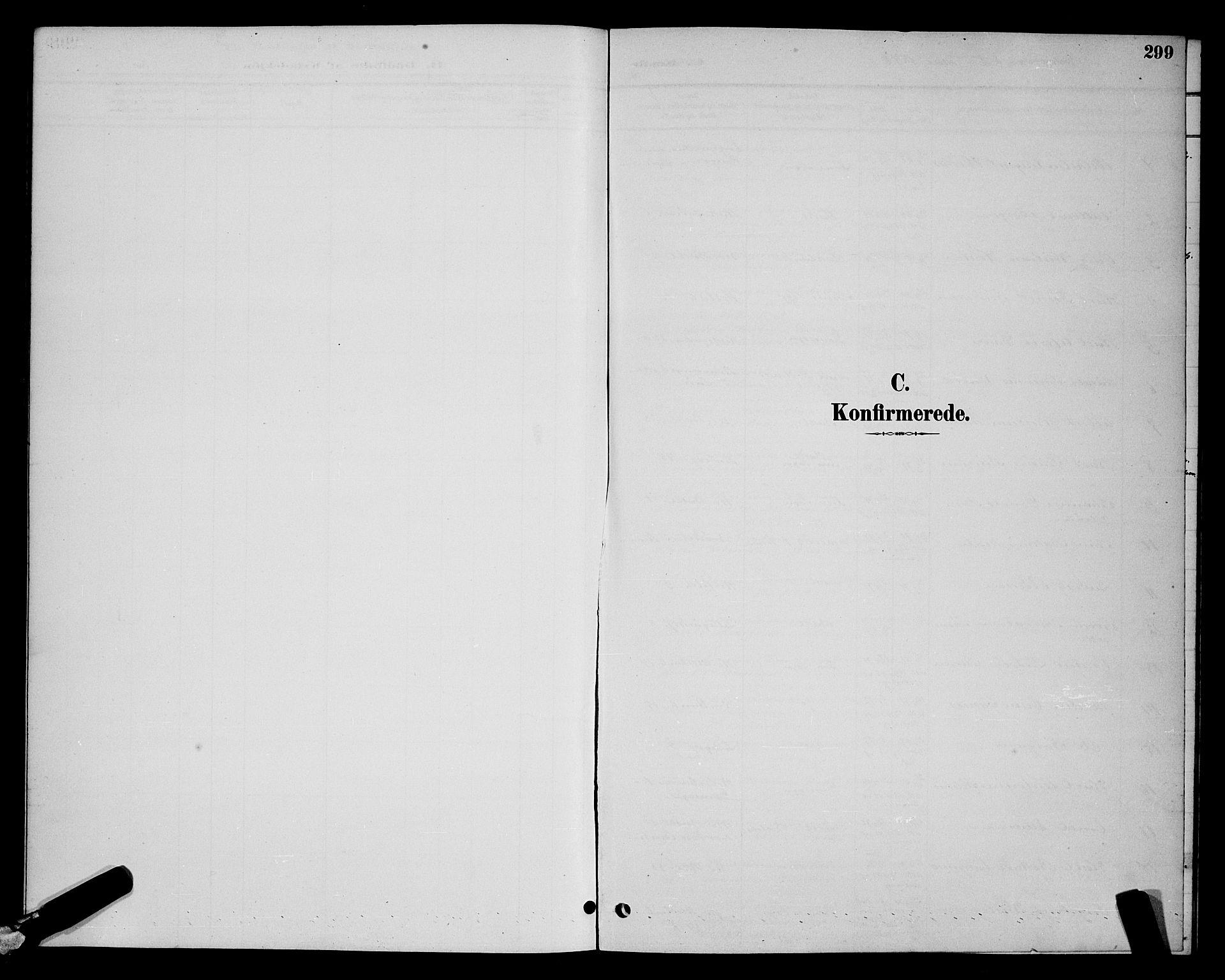 SAT, Ministerialprotokoller, klokkerbøker og fødselsregistre - Sør-Trøndelag, 604/L0222: Klokkerbok nr. 604C05, 1886-1895, s. 299
