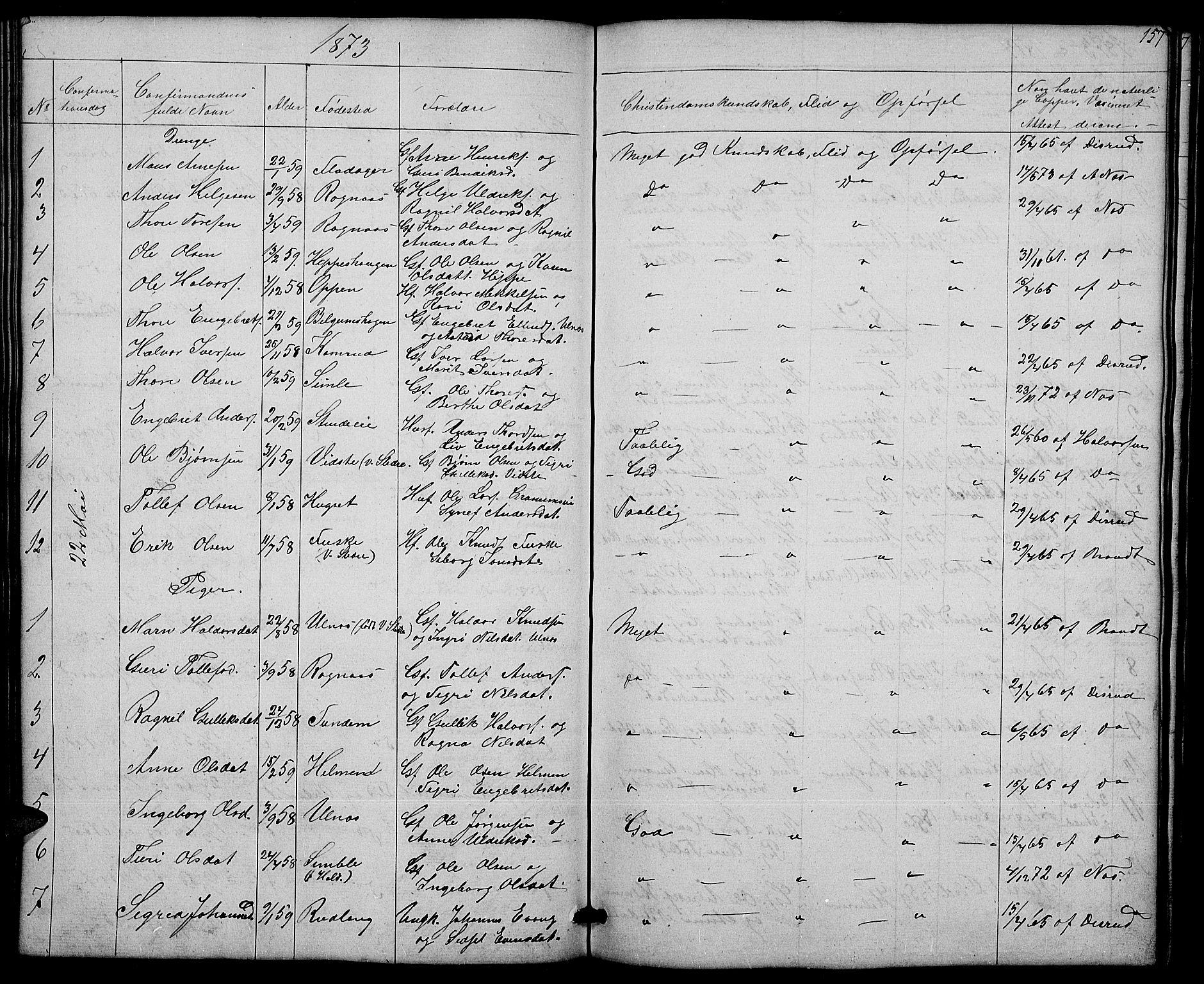 SAH, Nord-Aurdal prestekontor, Klokkerbok nr. 4, 1842-1882, s. 157