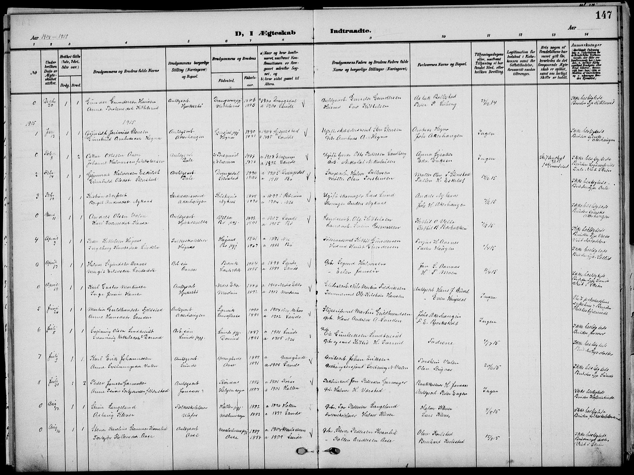 SAKO, Sauherad kirkebøker, G/Ga/L0004a: Klokkerbok nr. I 4, 1906-1934, s. 147