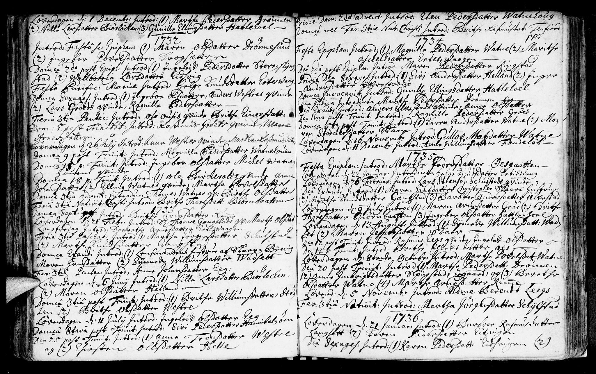 SAT, Ministerialprotokoller, klokkerbøker og fødselsregistre - Møre og Romsdal, 525/L0371: Ministerialbok nr. 525A01, 1699-1777, s. 148