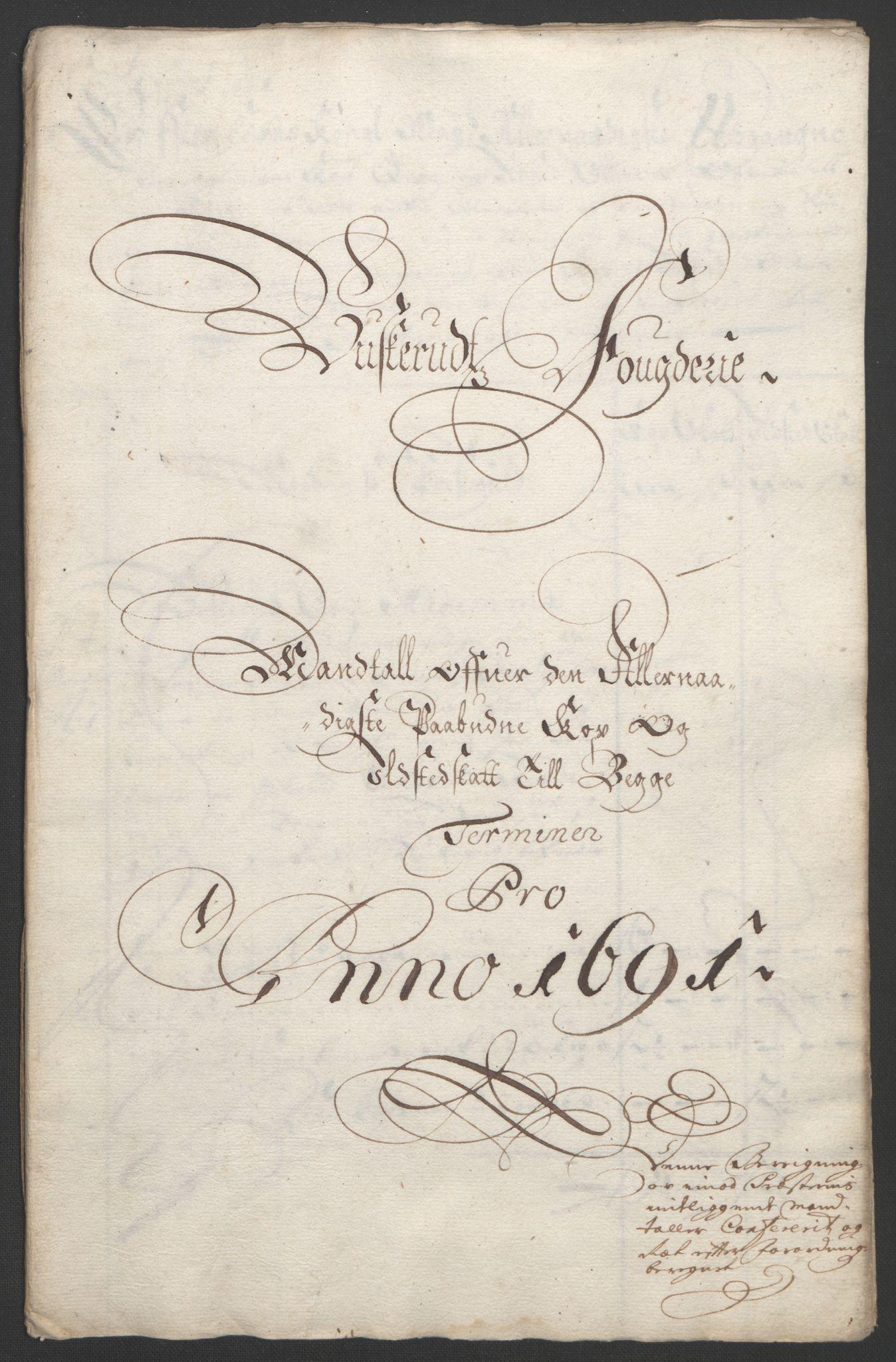 RA, Rentekammeret inntil 1814, Reviderte regnskaper, Fogderegnskap, R25/L1681: Fogderegnskap Buskerud, 1691-1692, s. 258