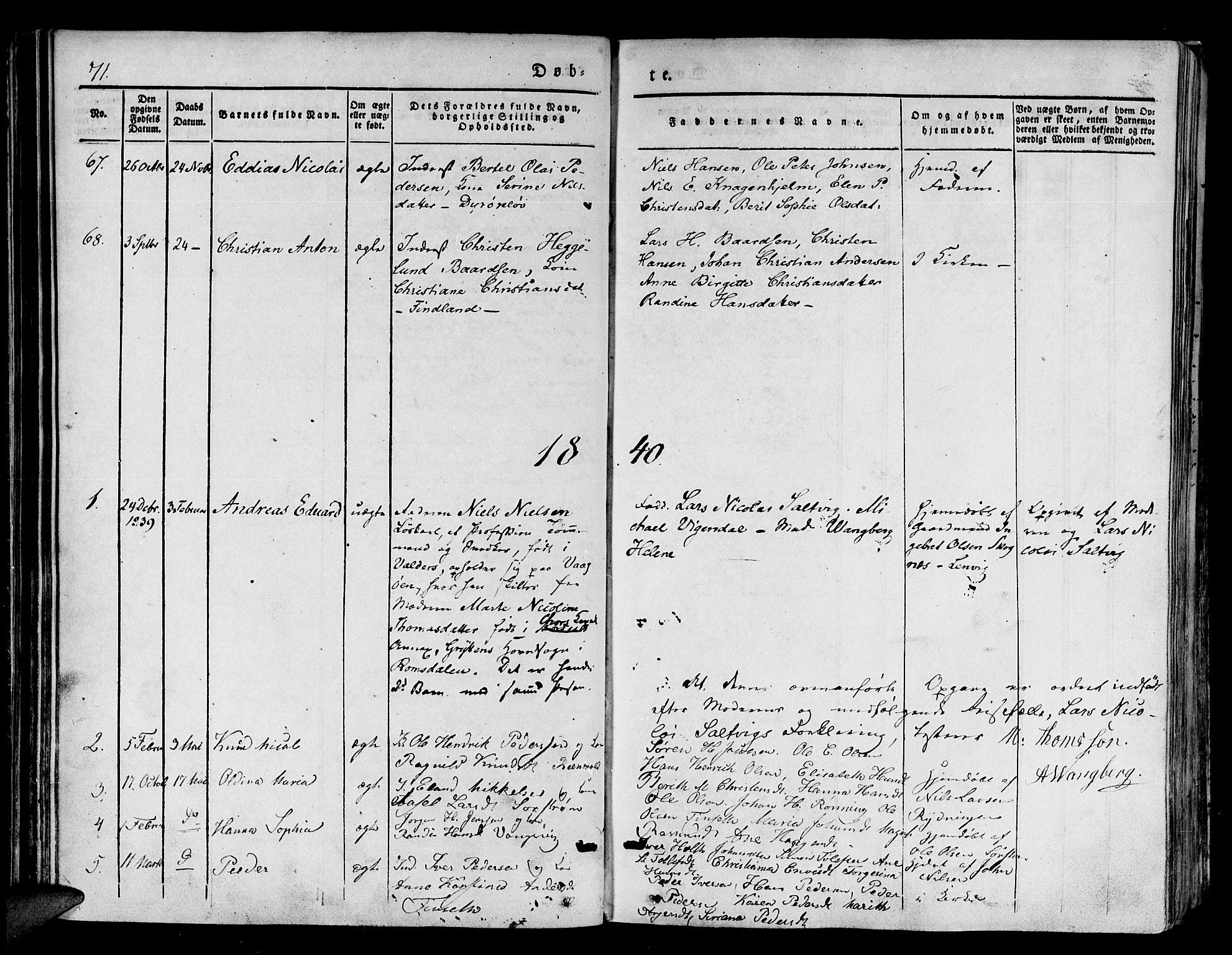 SATØ, Tranøy sokneprestkontor, I/Ia/Iaa/L0005kirke: Ministerialbok nr. 5, 1829-1844, s. 71